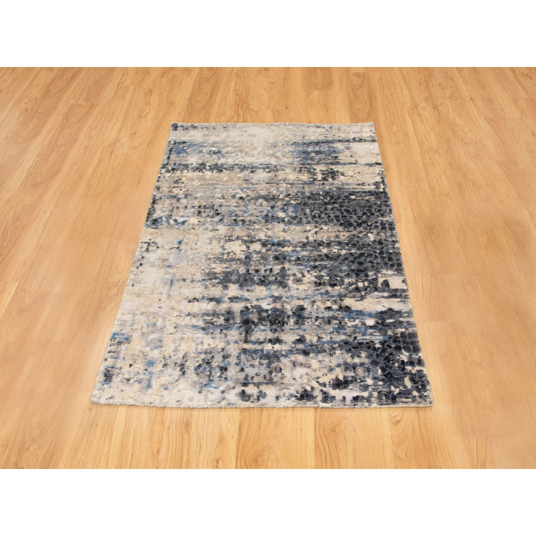 3'x5' Abstract With Mosaic Design Wool And Silk Hand Knotted Oriental Rug