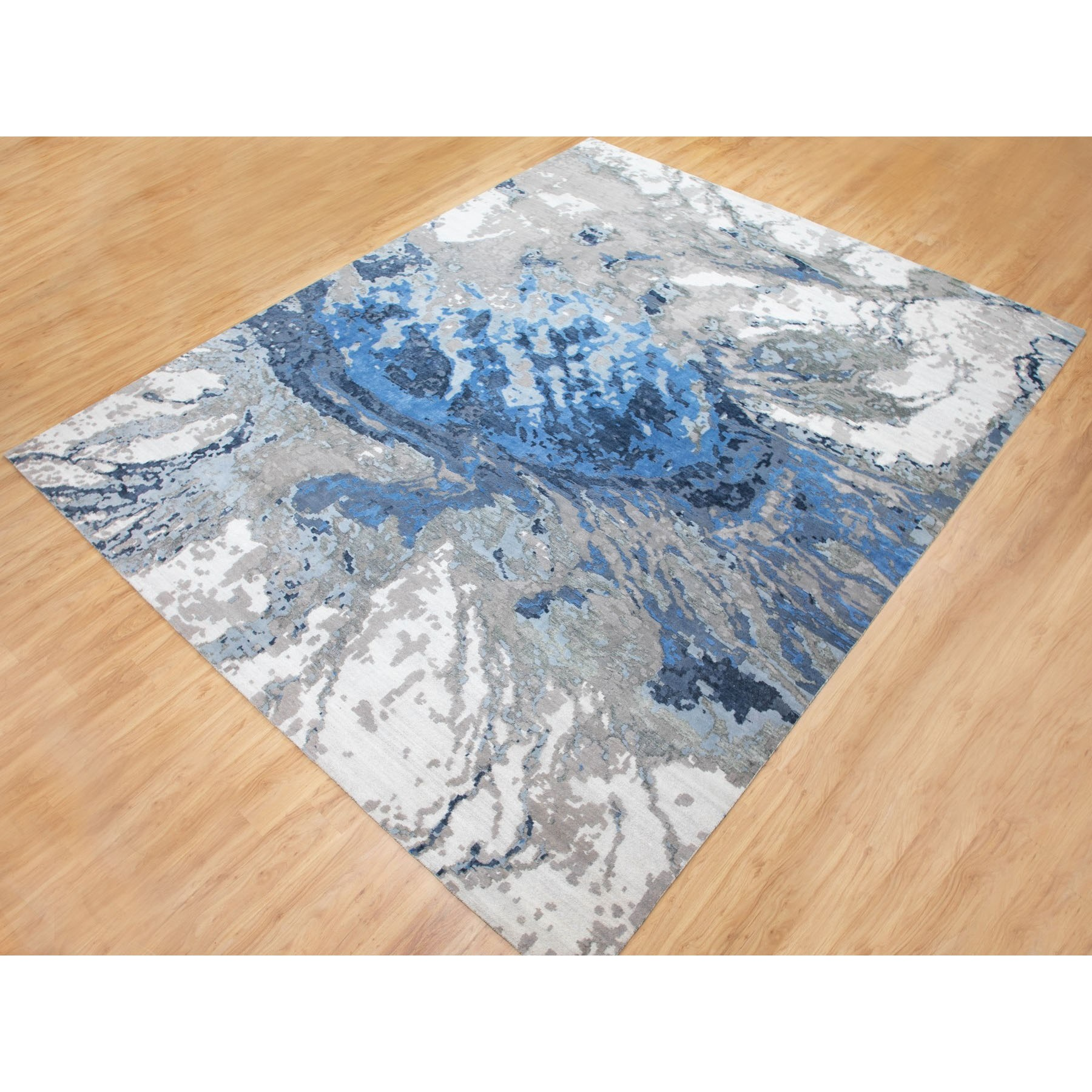 12'x15' Oversized Abstract Design Wool And Silk Hi-low Pile Hand Knotted Oriental Rug