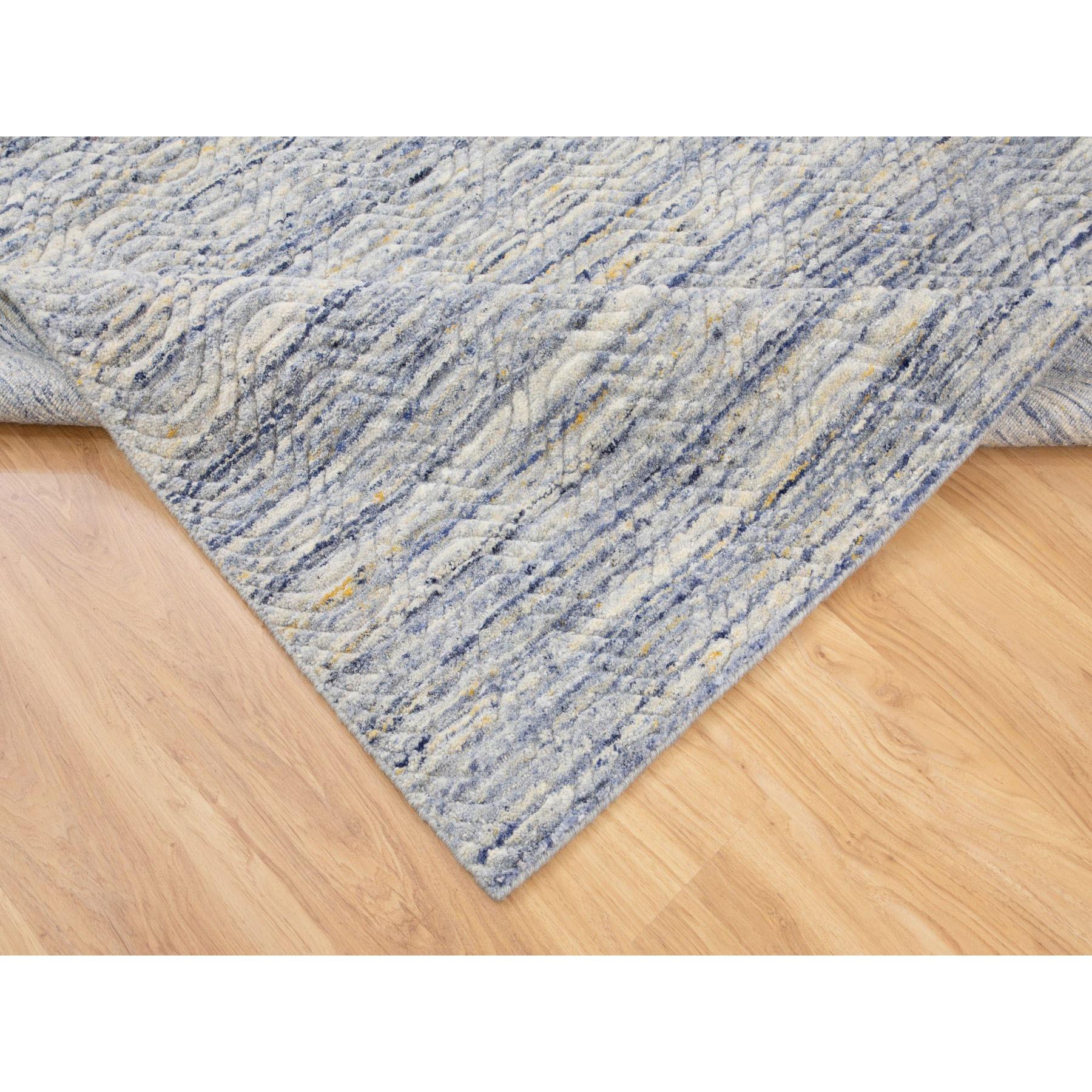 6'x9' Blue Variegated Design Hand Loomed Pure Wool Modern Oriental Rug