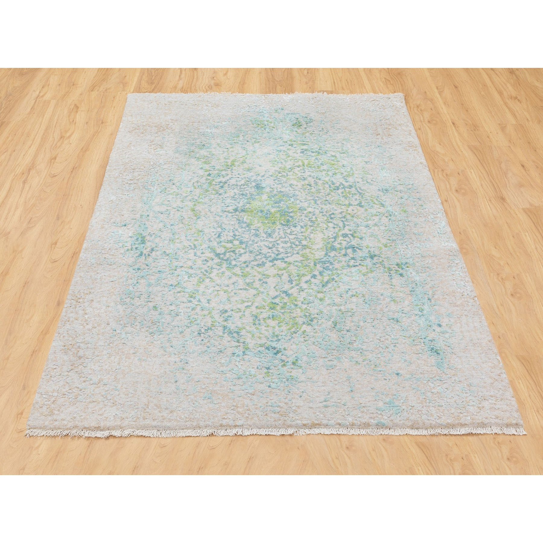 4'x6' Ivory Touch Of Green Pure Silk With Textured Wool Hand Knotted Oriental Rug