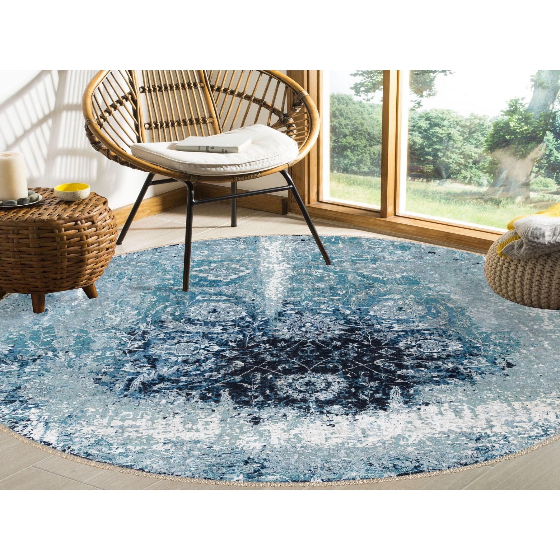 8'x8' Round Wool And Silk Broken Persian Tabriz Erased Design Hand Knotted Oriental Rug