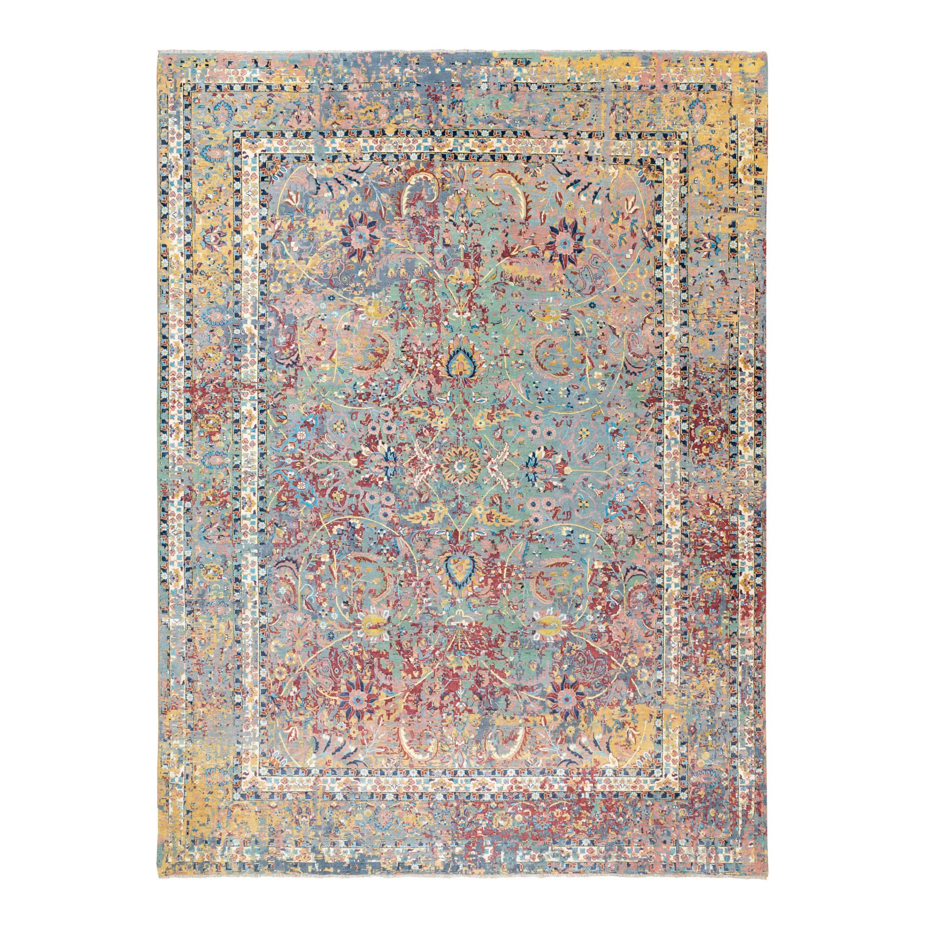 "10'x13'9"" Multicolor Pure Silk With Textured Wool Erased Persian Design Hand Knotted Oriental Rug"