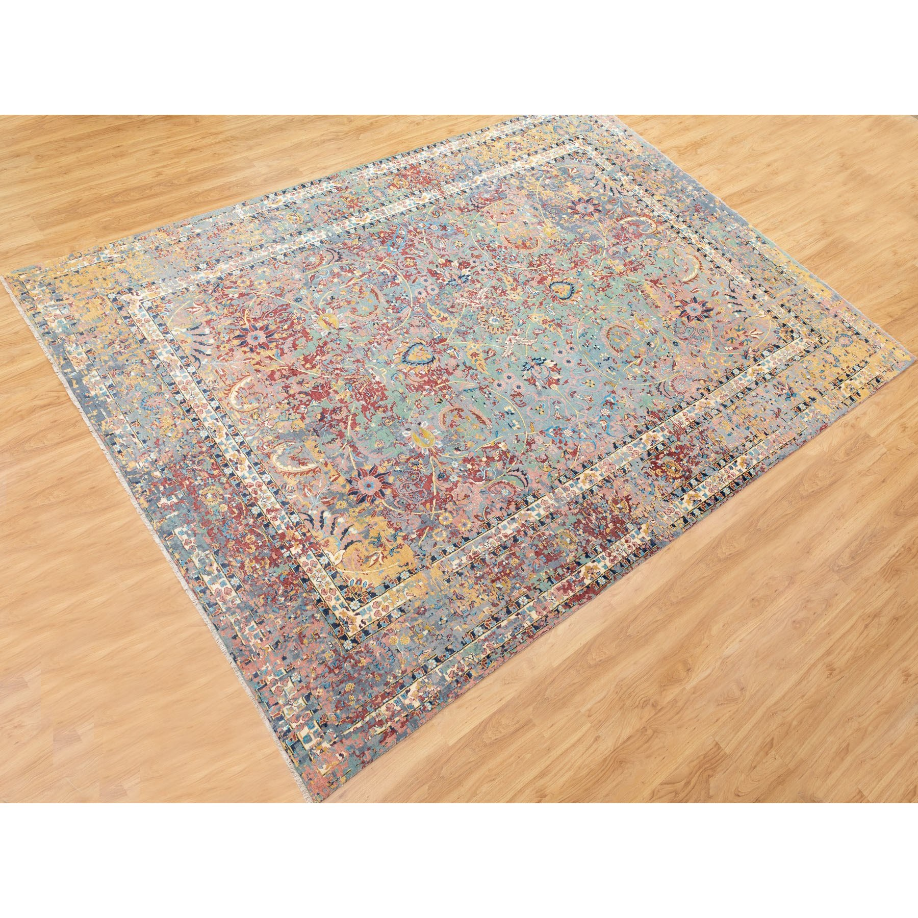 """10'x13'9"""" Multicolor Pure Silk With Textured Wool Erased Persian Design Hand Knotted Oriental Rug"""