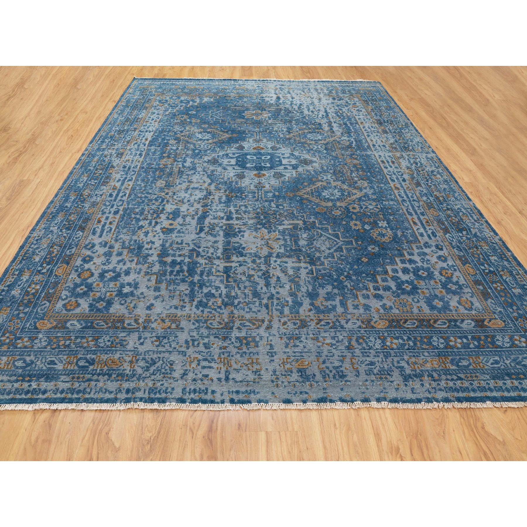 9 X12 Denim Blue Textured Worn Wool Shiraz Hand Knotted Oriental Rug