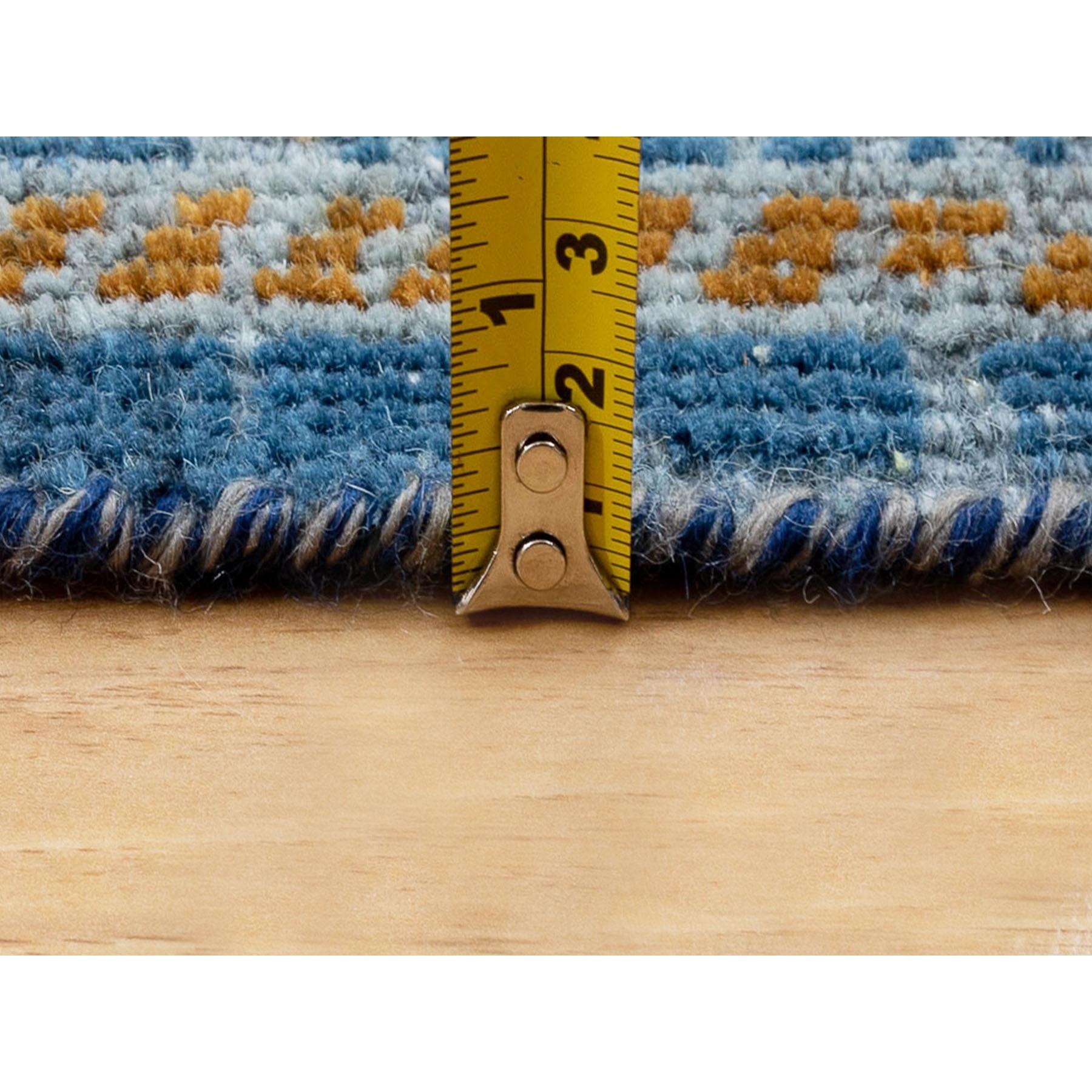 9'x12' Denim Blue Textured Worn Wool Shiraz Hand Knotted Oriental Rug
