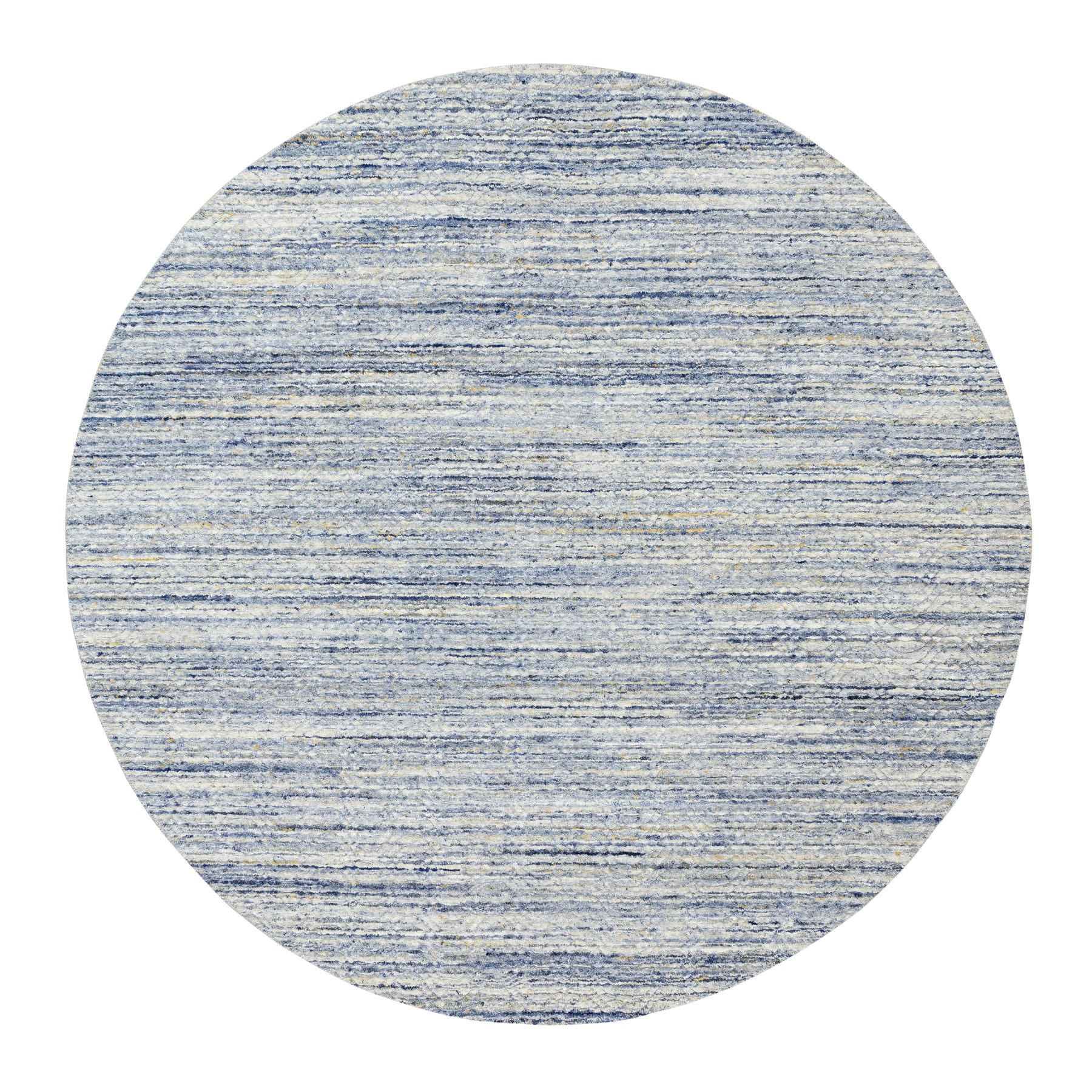 8'X8' Blue Variegated Design Hand Loomed Pure Wool Modern Round Oriental Rug moae8dcb