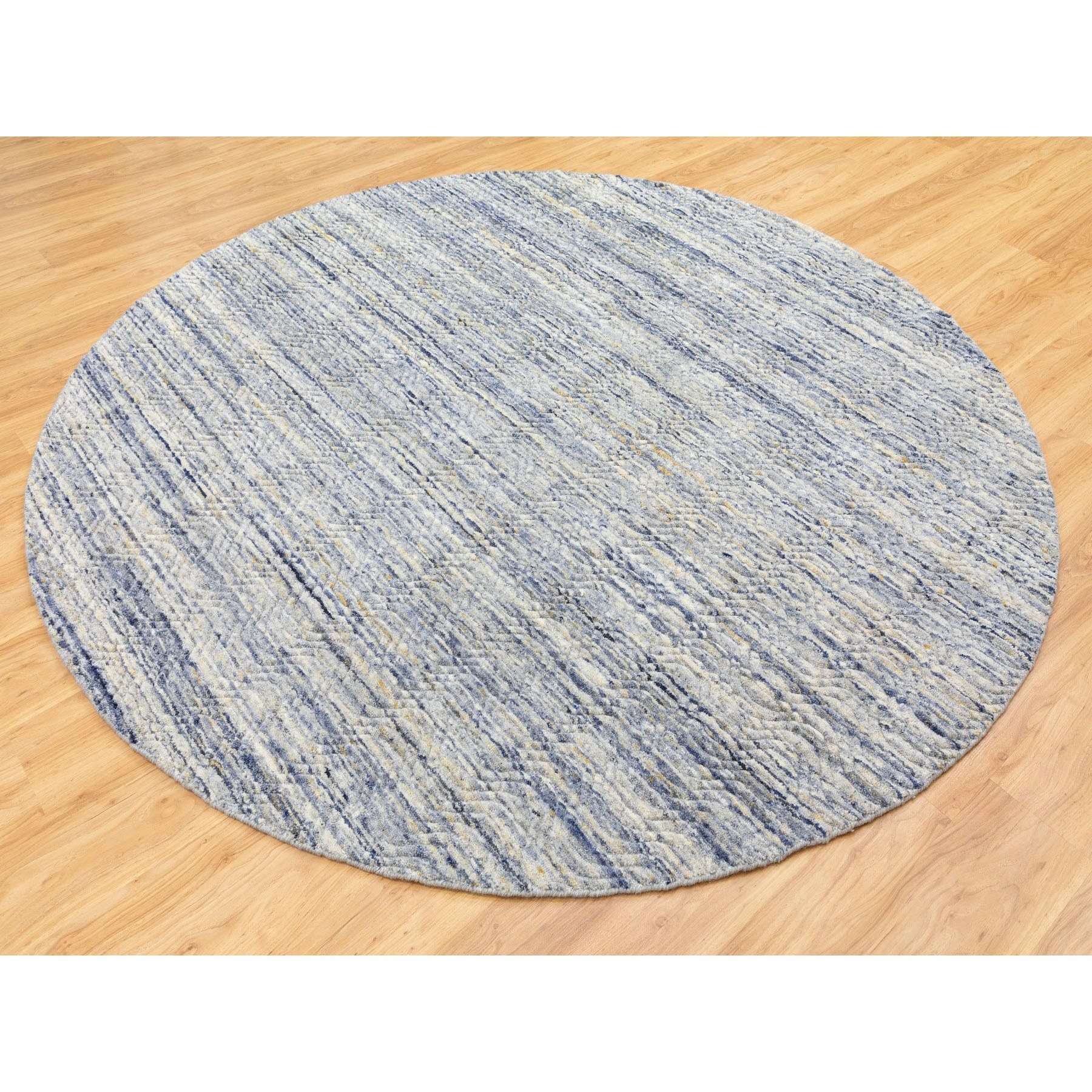 8'x8' Blue Variegated Design Hand Loomed Pure Wool Modern Round Oriental Rug