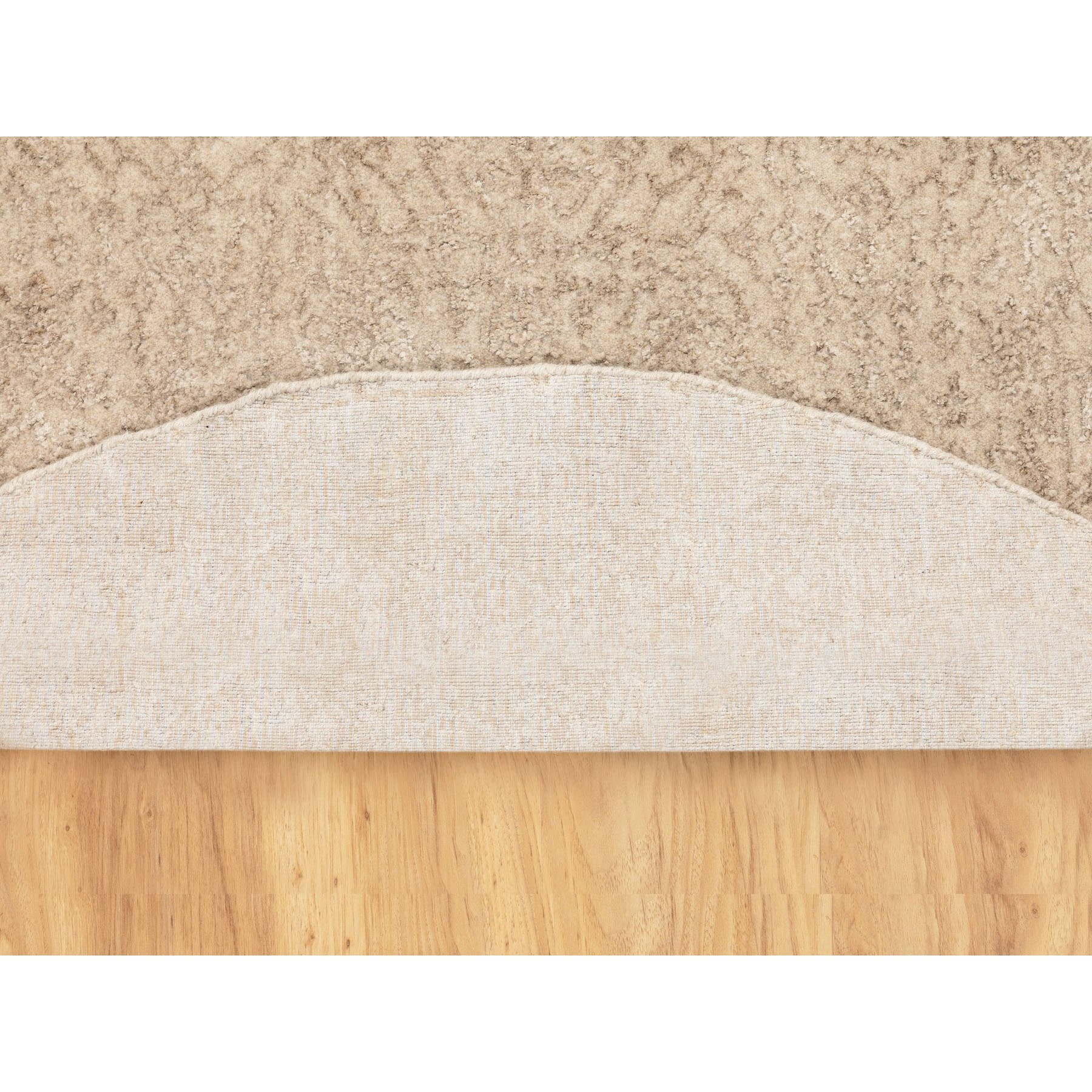 """5'9""""x5'9"""" Round Taupe Fine Jacquard Hand Loomed Modern Wool And Art Silk Oriental Rug"""
