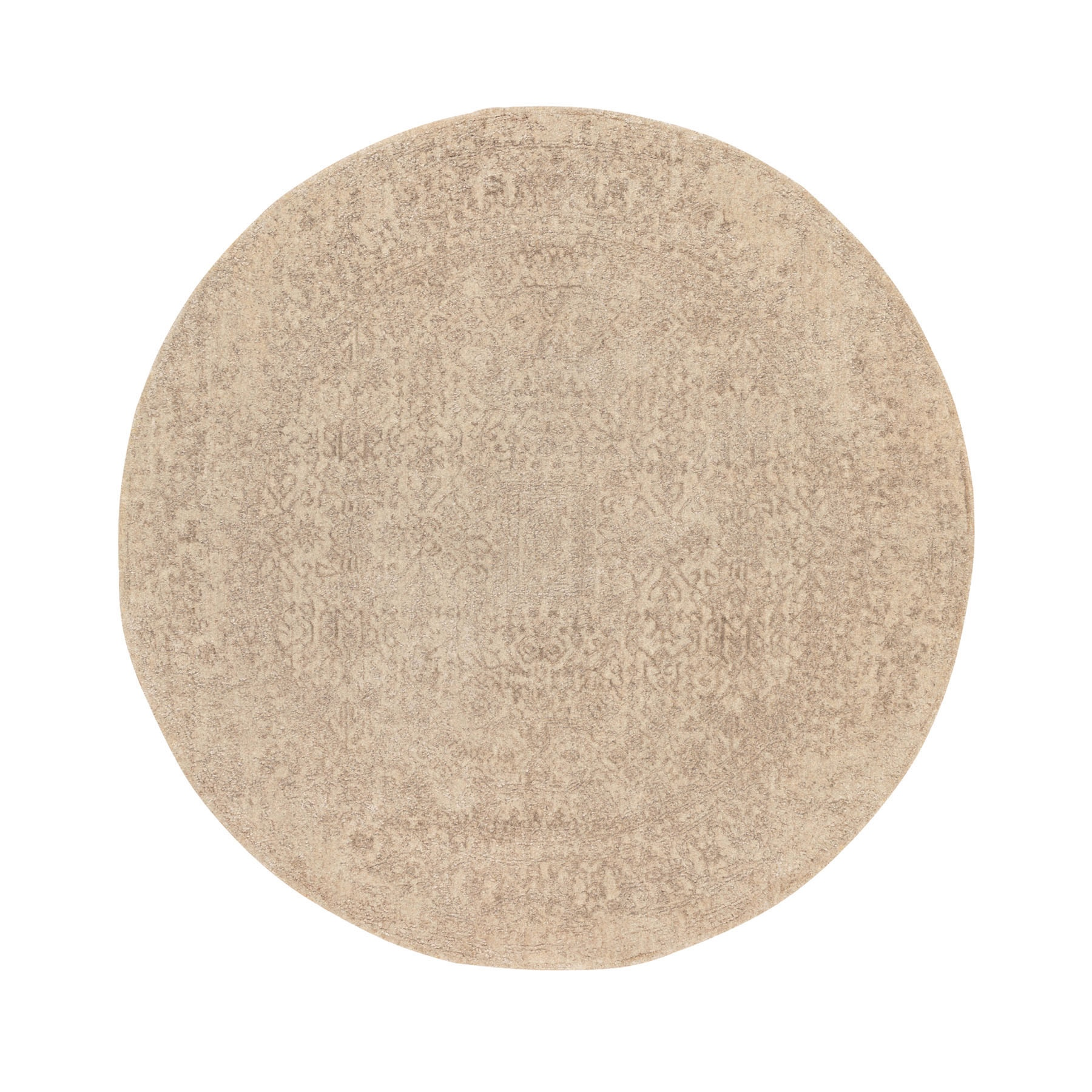 "5'10""X5'10"" Round Taupe Fine Jacquard Hand Loomed Modern Wool And Art Silk Oriental Rug moae8dcd"