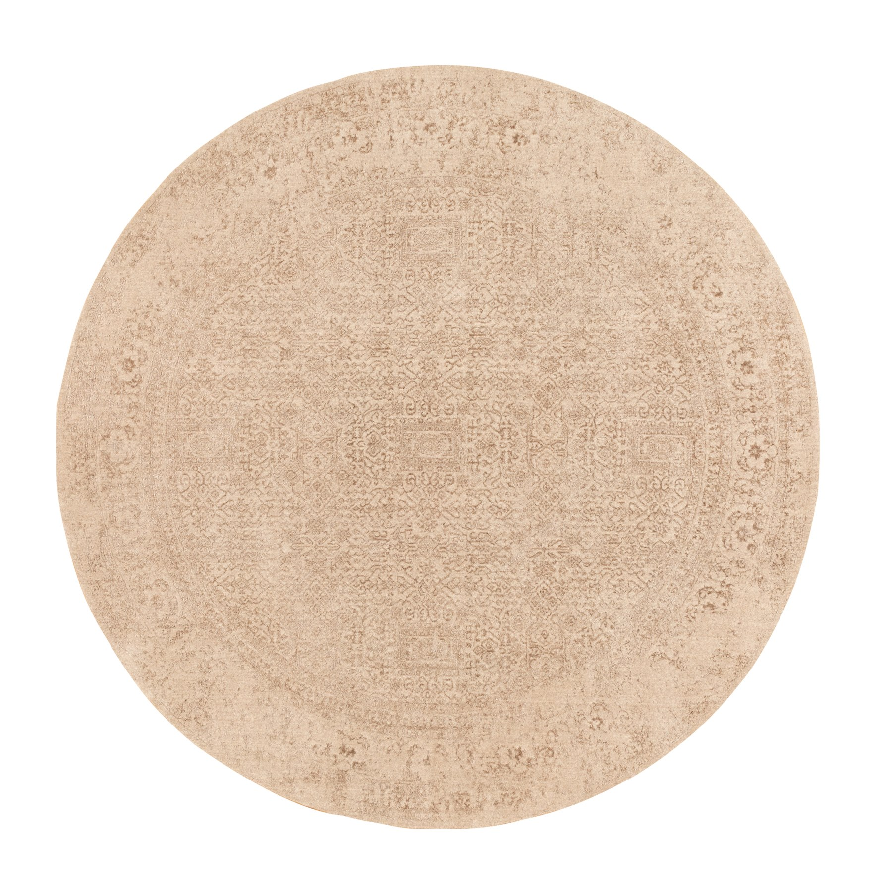 "9'10""X9'10"" Round Taupe Fine Jacquard Hand Loomed Wool And Art Silk Modern Rug moae8dc6"