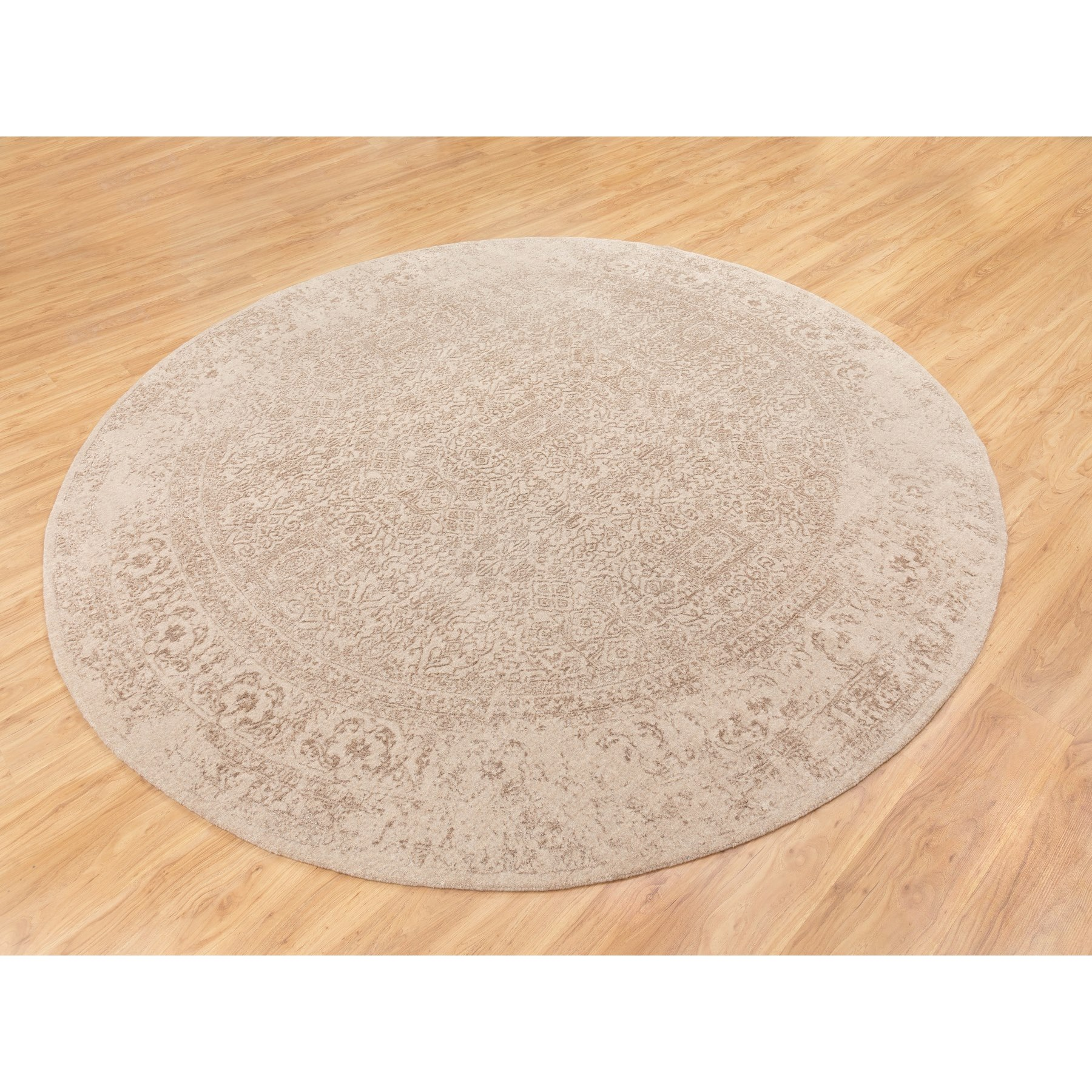 """9'10""""x9'10"""" Round Taupe Fine Jacquard Hand Loomed Wool And Art Silk Modern Rug"""