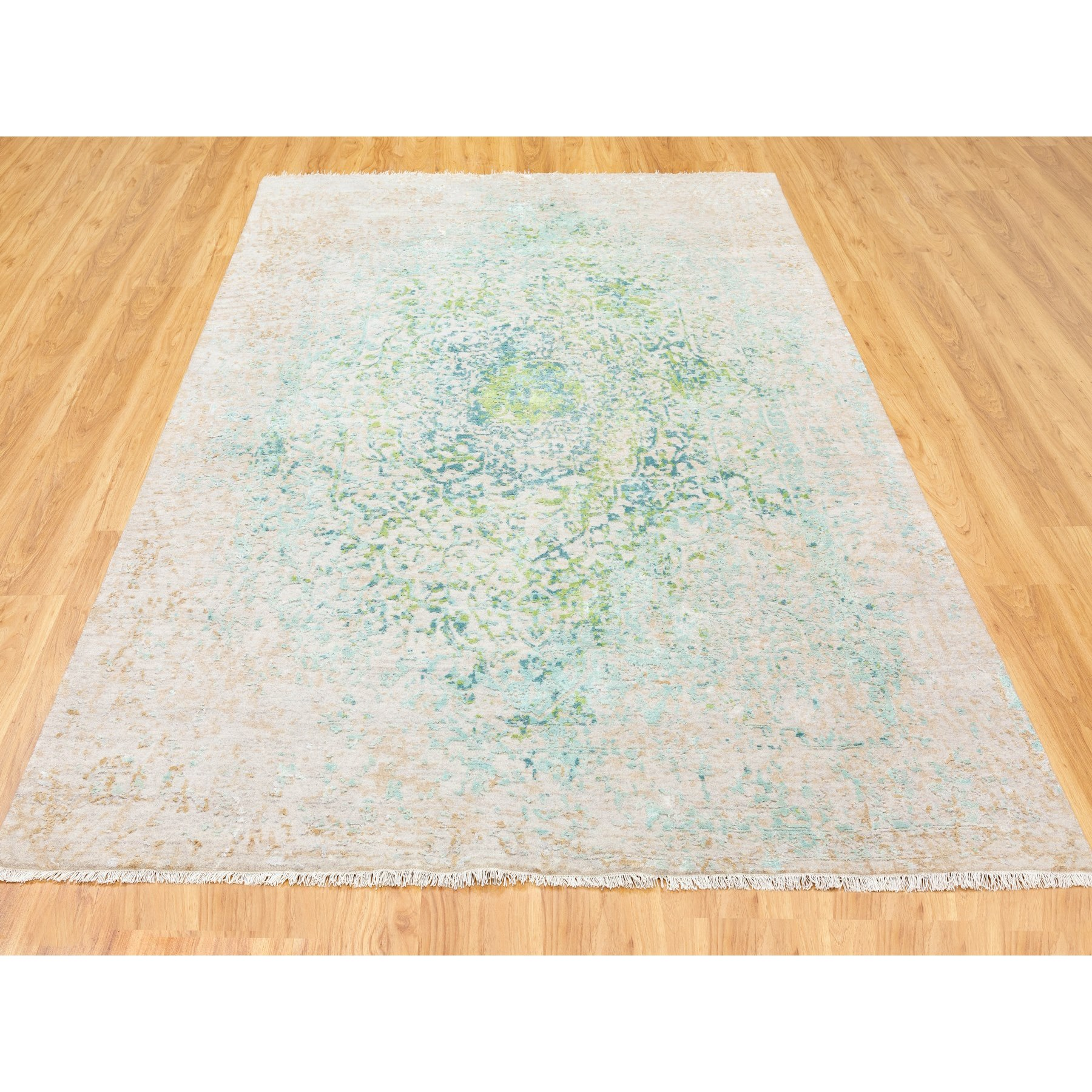 """6'1""""x8'10"""" Ivory Touch Of Green Pure Silk With Textured Wool Hand Knotted Oriental Rug"""