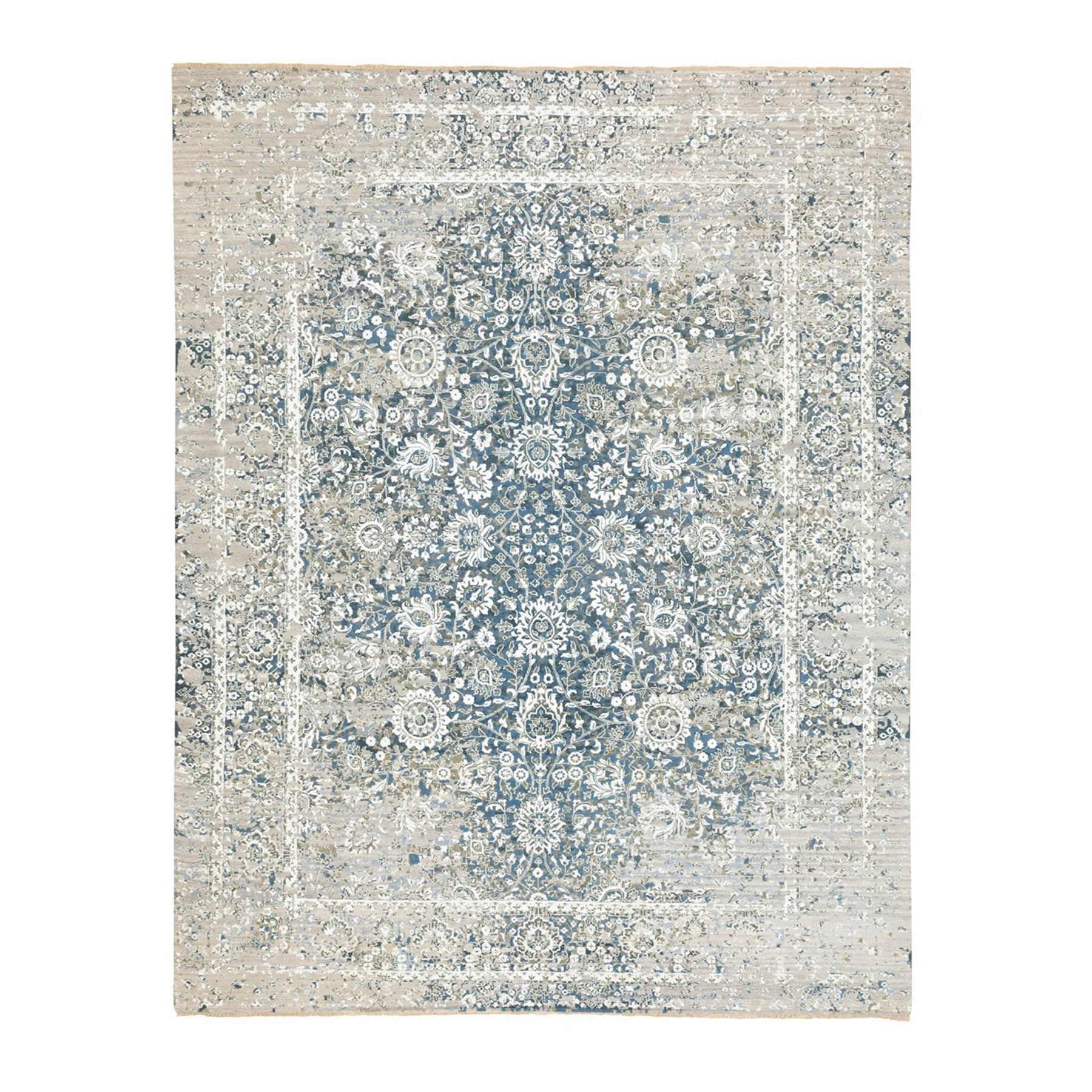 "9'X11'10""  Denim Blue Pure Silk With Wool Erased Persian Design Hand Knotted Oriental Rug moae8dc8"