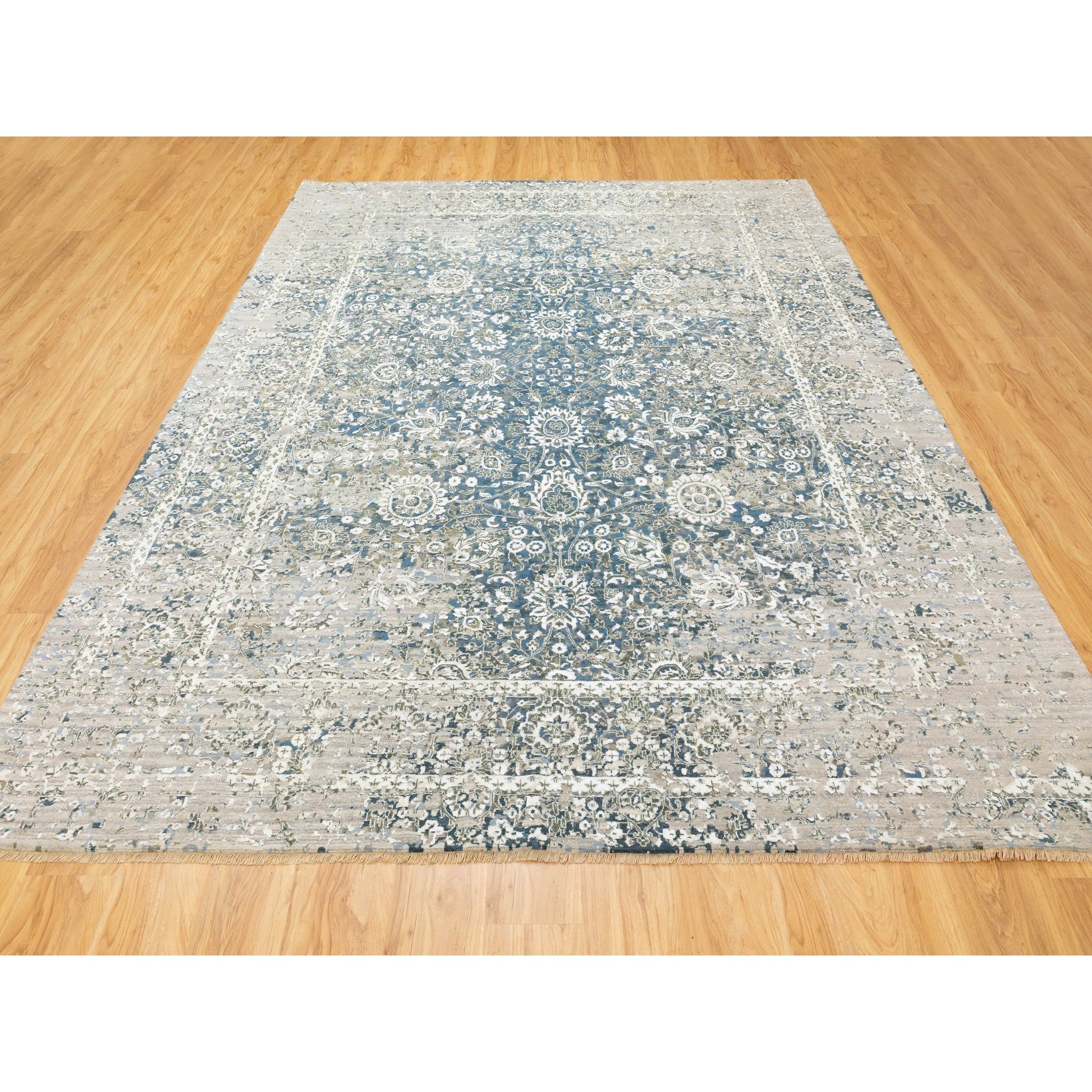 """9'x11'10""""  Denim Blue Pure Silk With Wool Erased Persian Design Hand Knotted Oriental Rug"""