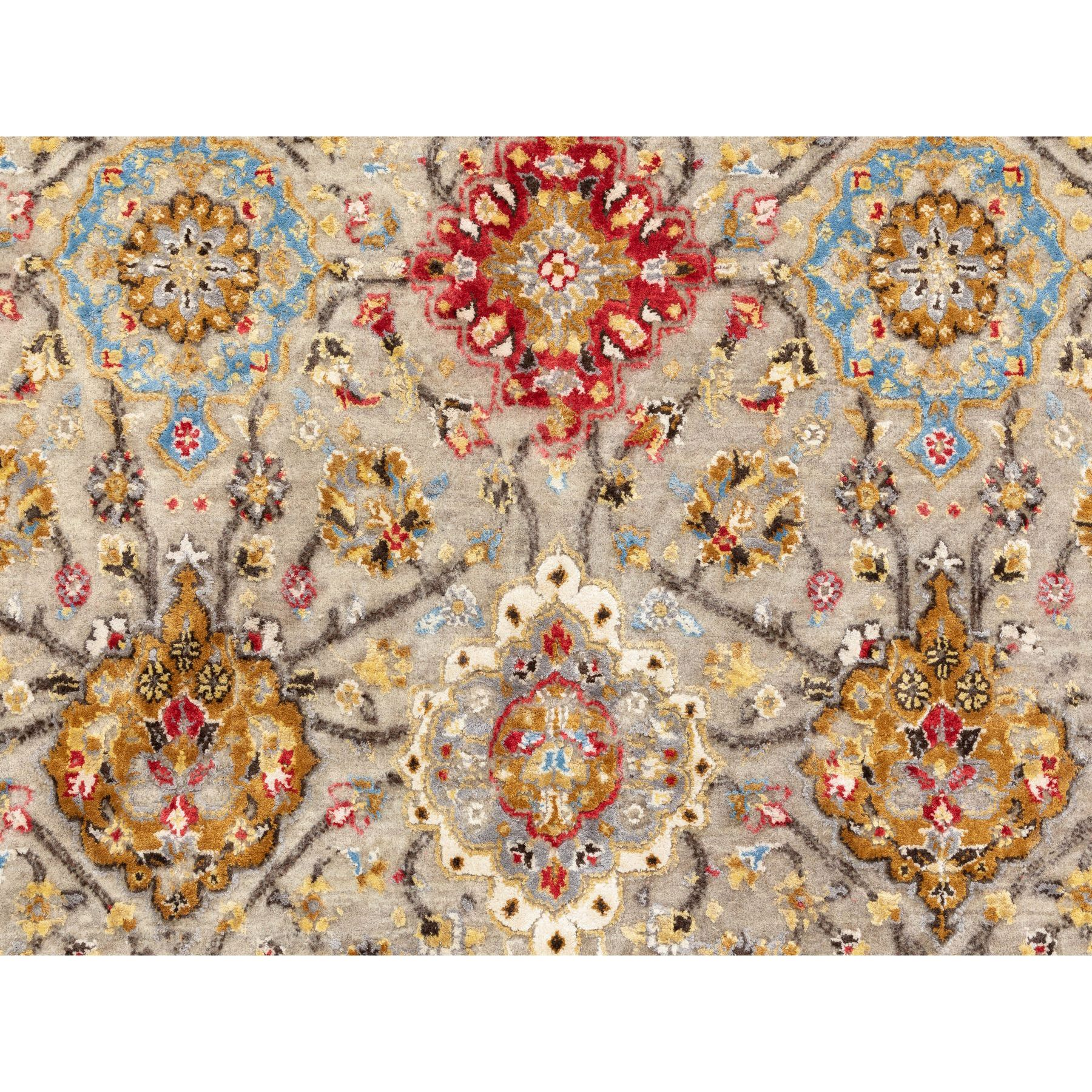 "6'1""x9' THE SUNSET ROSETTES Wool And Pure Silk Hand Knotted Oriental Rug"