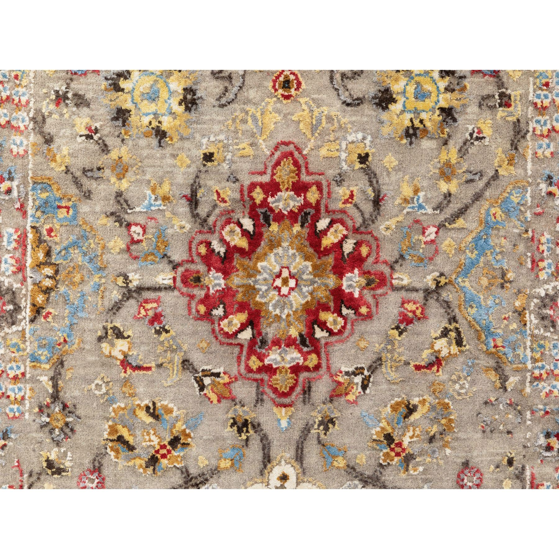 """2'9""""x7'10"""" THE SUNSET ROSETTES Wool And Pure Silk Runner Hand Knotted Oriental Rug"""