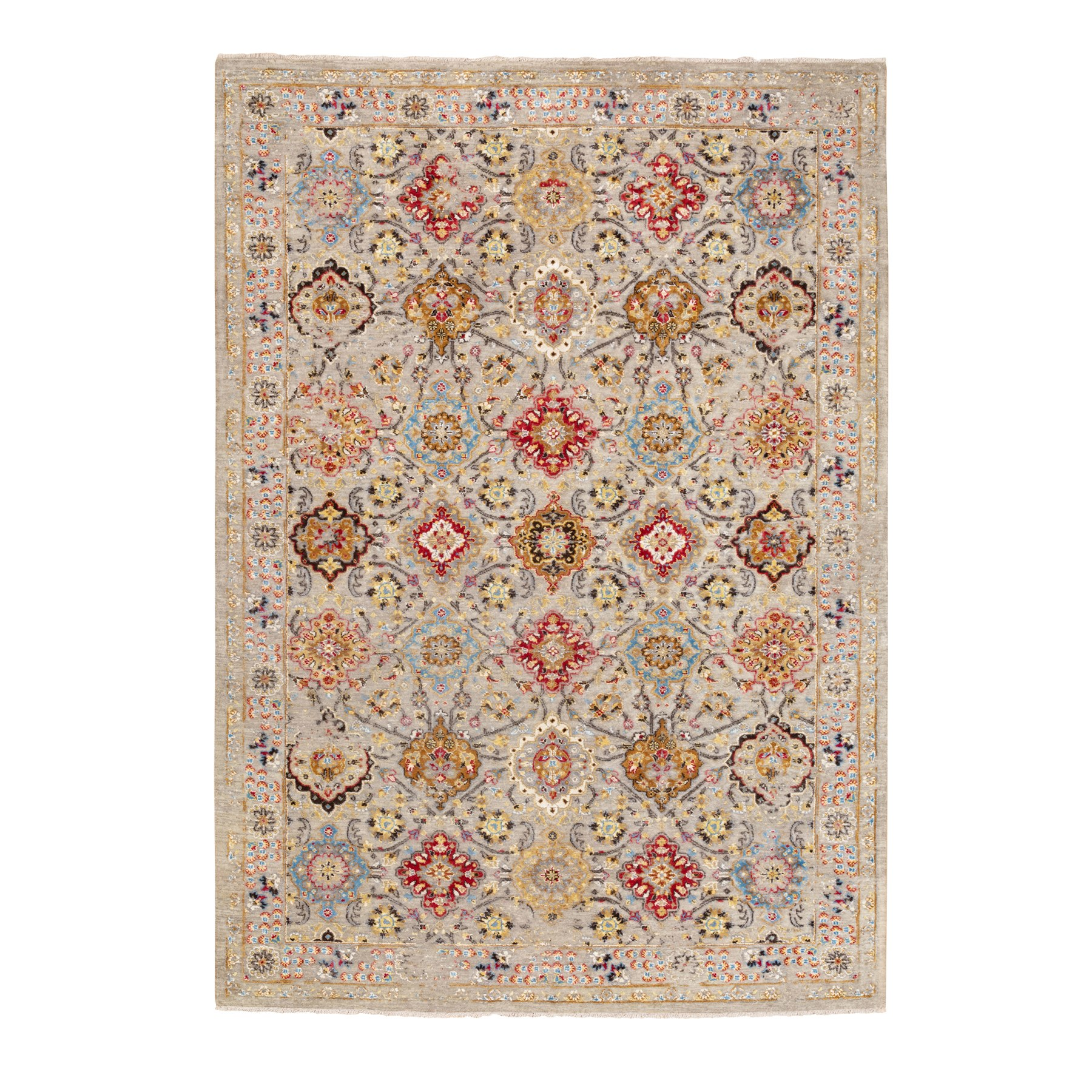 """6'1""""x9' THE SUNSET ROSETTES Wool And Pure Silk Hand Knotted Oriental Rug"""