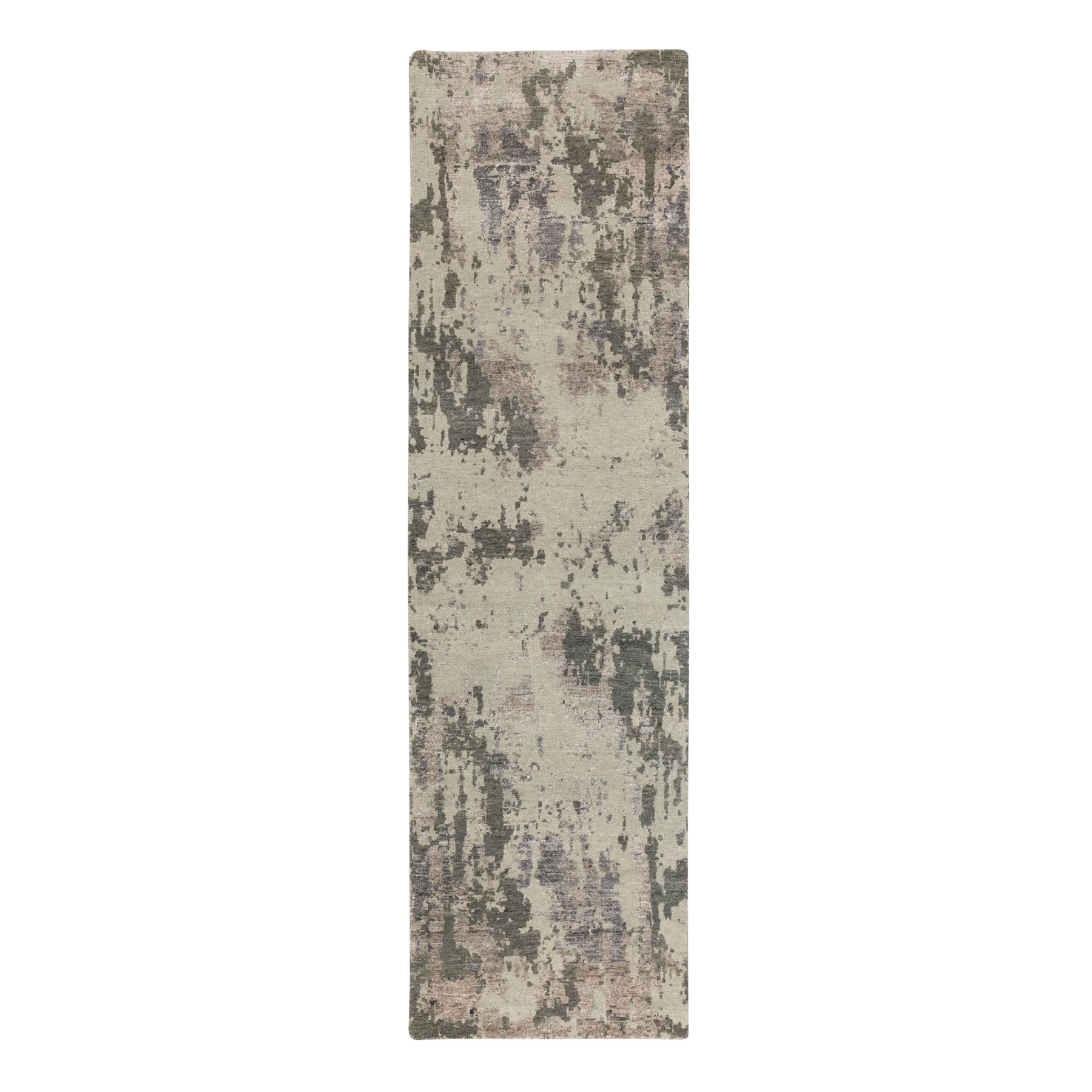 "2'8""x9'7"" Earth Tones Hi and Lo Pile Abstract Design Wool and Silk Hand Knotted Runner Oriental Rug"