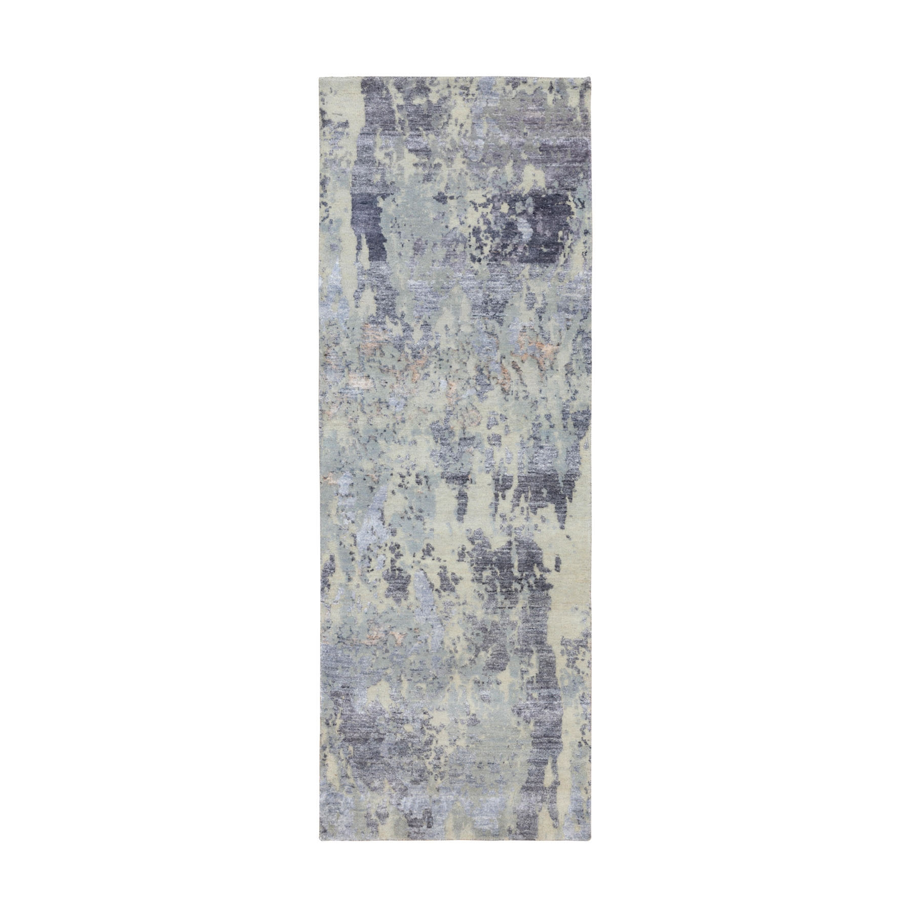 "2'8""x7'10"" Gray Thick and Plush Abstract Design Hand Knotted Runner Wool and Silk Oriental Rug"