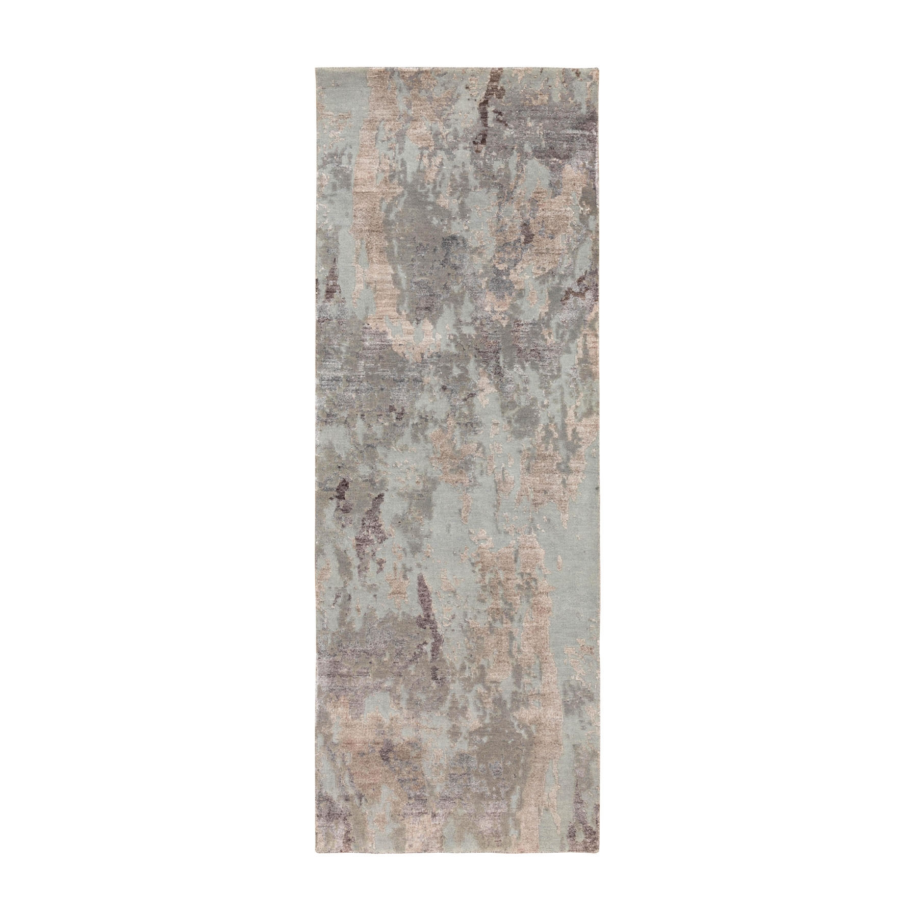 "8'x2'9"" Gray Textured Pile Abstract Design Wool and Silk Runner Hand Knotted Oriental Rug"