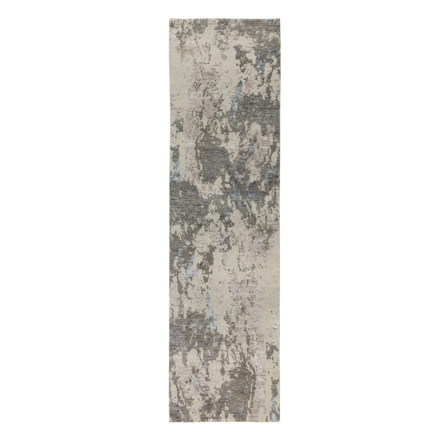 "2'8""x10' Gray Abstract Design Wool And Silk Runner Hand Knotted Oriental Rug"