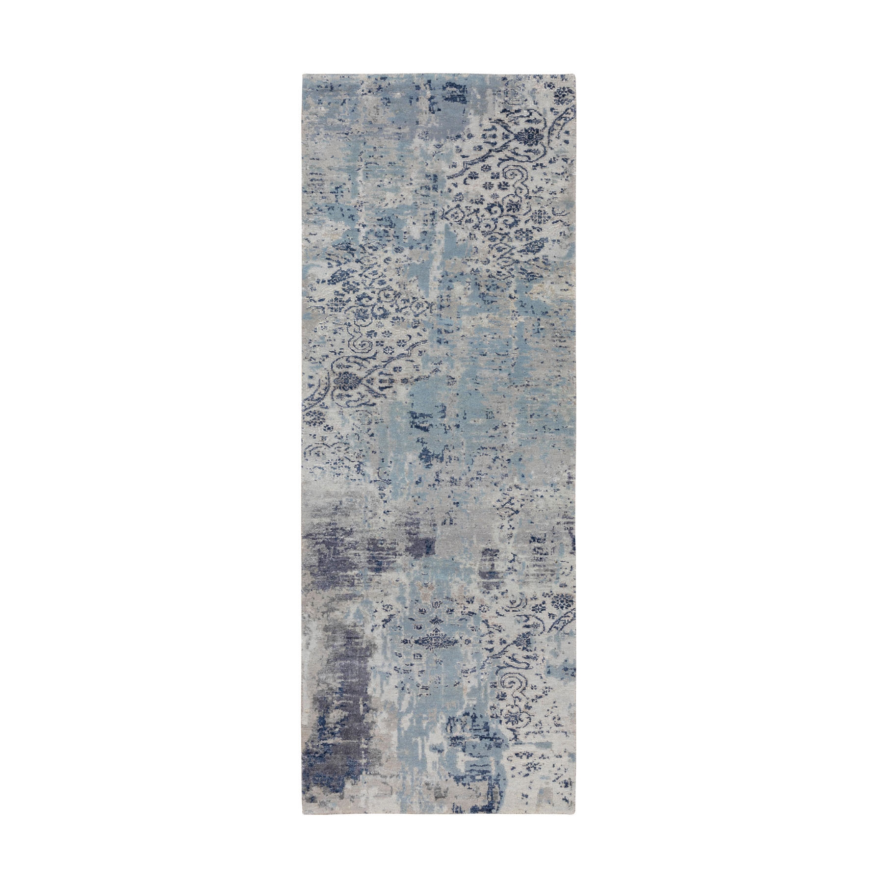 "2'8""x7'4"" Blue Erased Design Wool And Silk Hand Knotted Runner Oriental Rug"