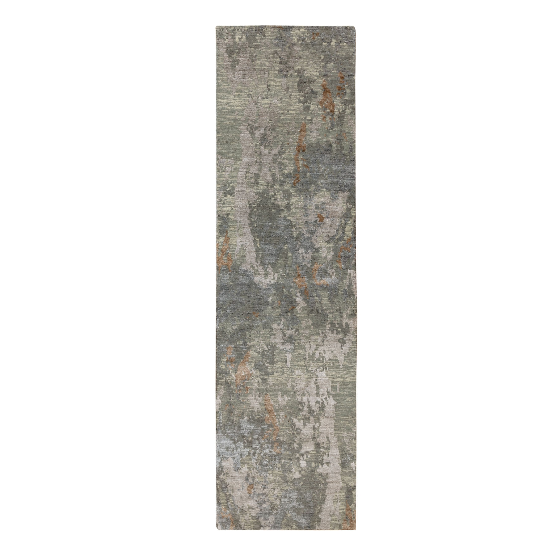 "2'6""x9'10"" Earth Tone Colors Abstract Design Wool And Silk Runner Hand Knotted Oriental Rug"