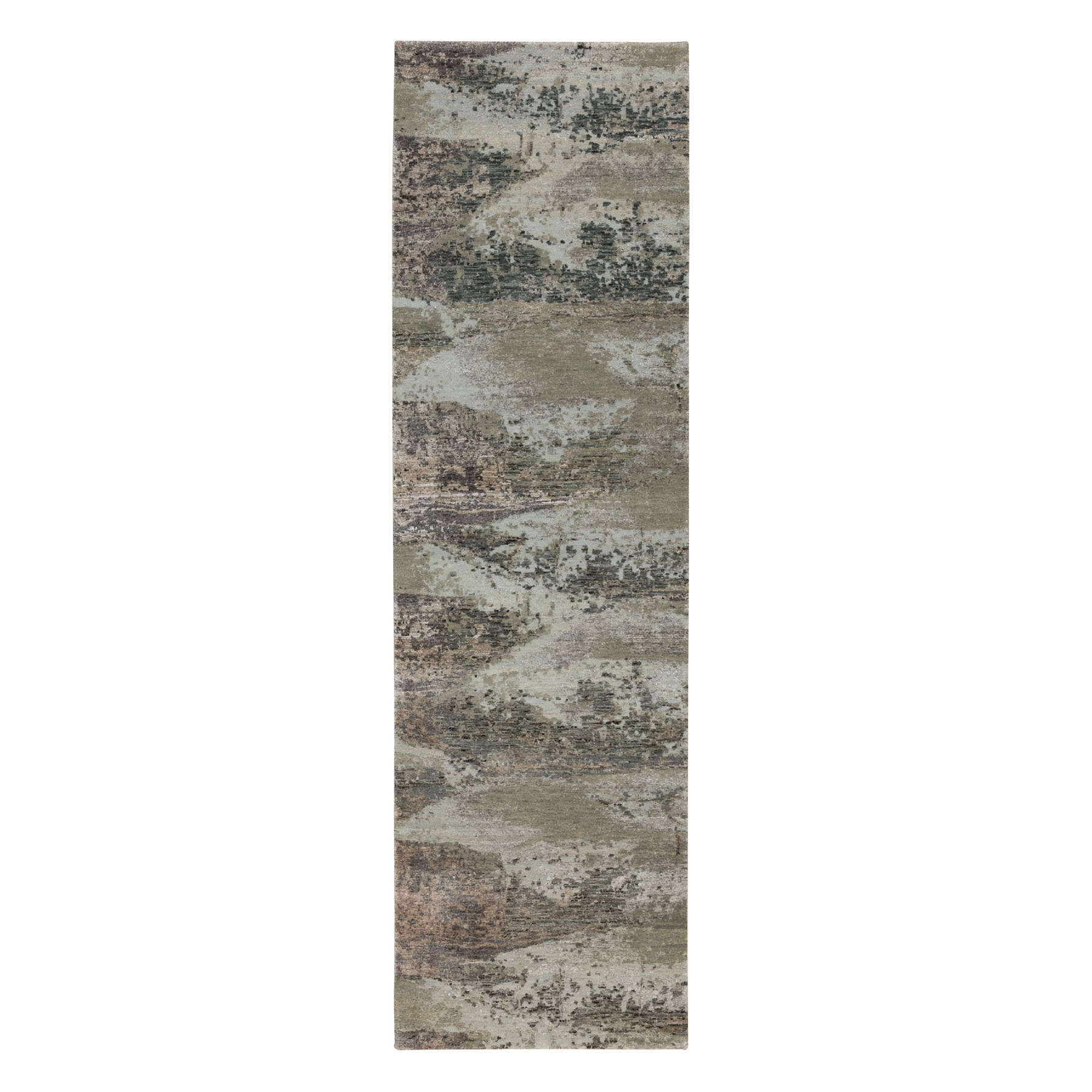 "2'8""x9'10"" Natural Colors Abstract Design Wool And Silk Runner Hand Knotted Oriental Rug"