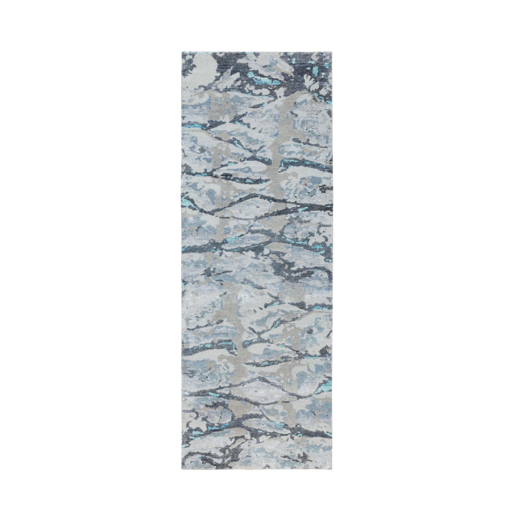 "2'8""x8' Blue Modern Design Wool And Silk Runner Hand Knotted Oriental Rug"