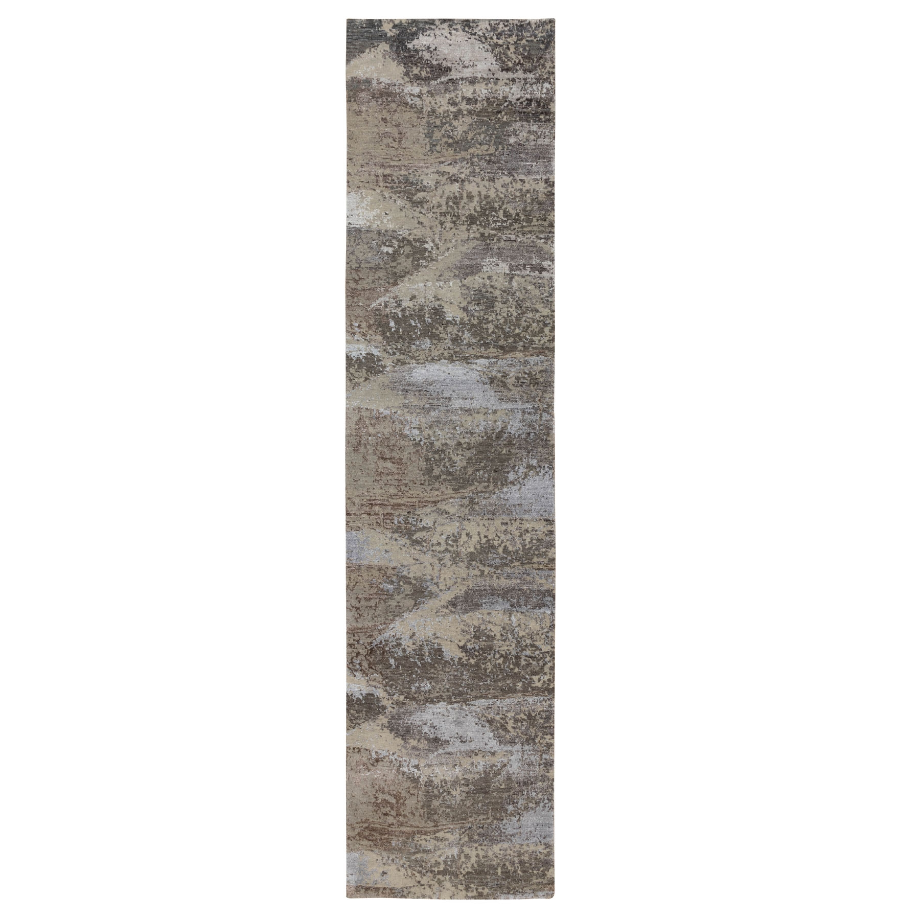 "2'8""X11'9"" Natural Abstract Design Wool And Silk Runner Hand Knotted Oriental Rug moae8ded"