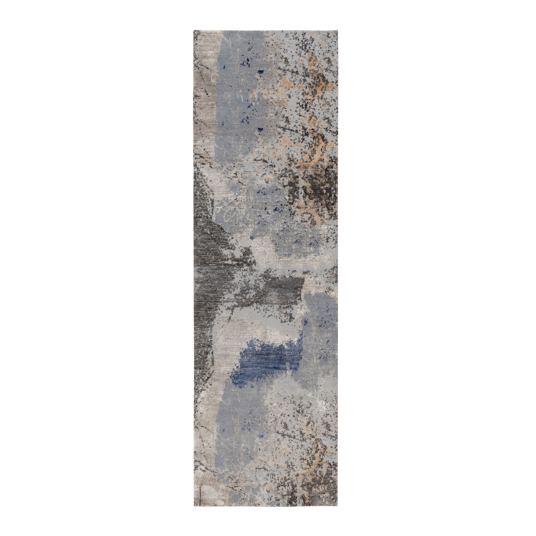 """2'9""""x9'8"""" Gray Abstract Design Wool And Silk Runner Hand Knotted Oriental Rug"""