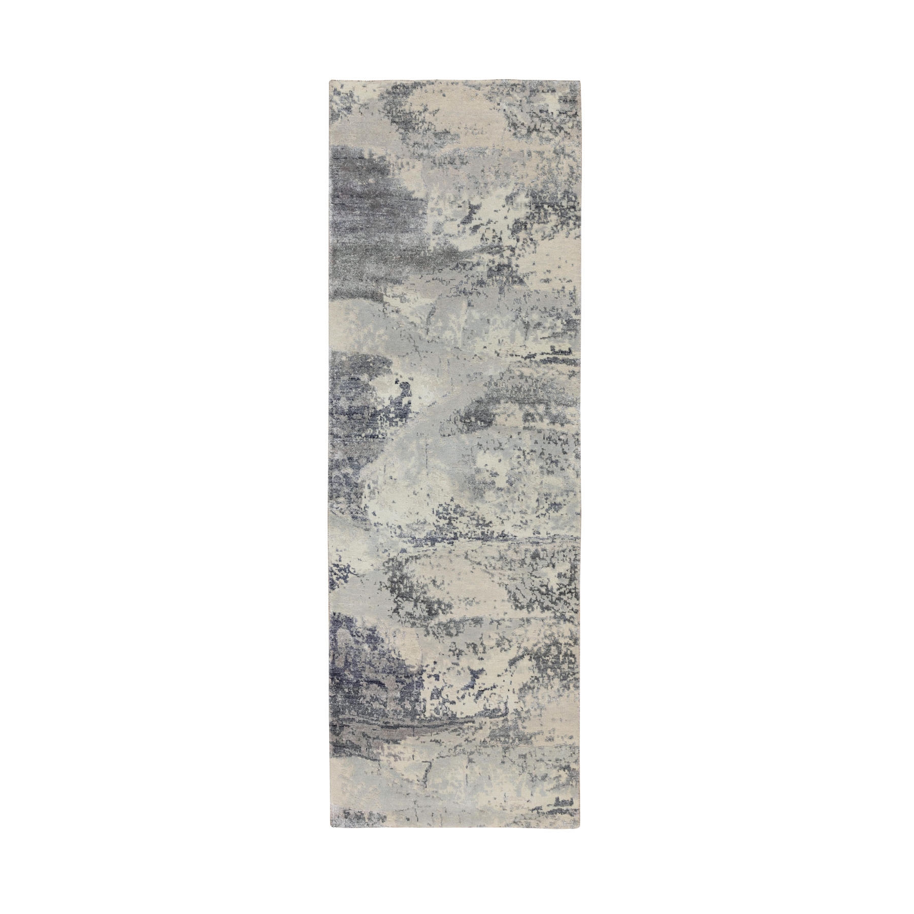 "2'8""x8' Gray Abstract Design Wool And Silk Runner Hand Knotted Oriental Rug"
