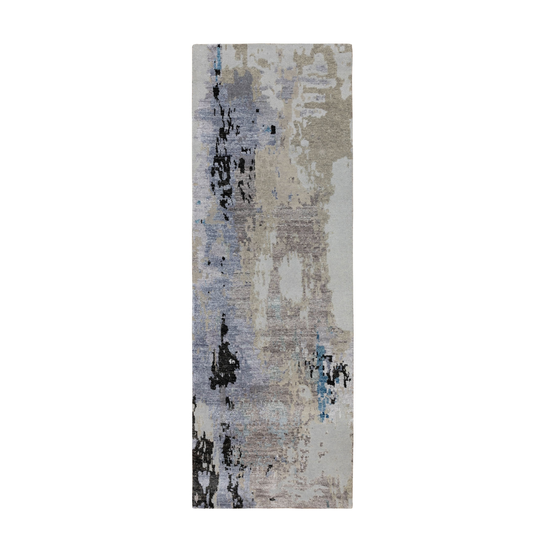 """2'4""""x7'5"""" Gray Abstract Design Wool And Silk Runner Hand Knotted Oriental Rug"""