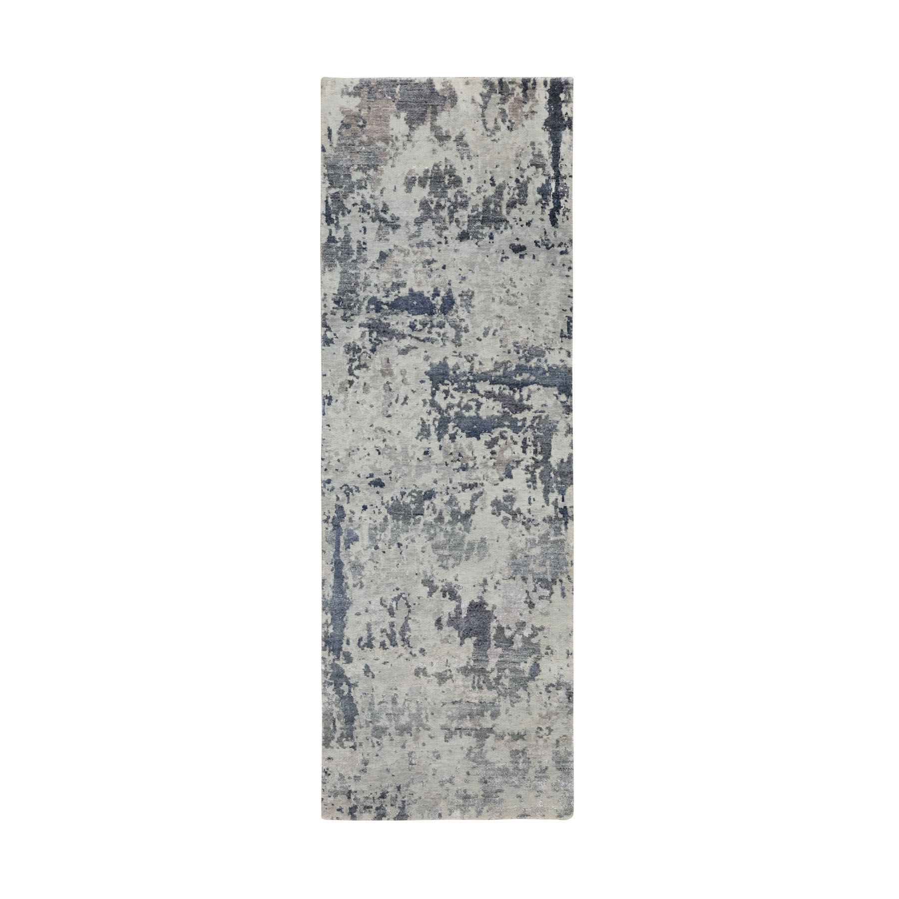 """2'6""""x8' Gray Abstract Design Wool And Silk Runner Hand Knotted Oriental Rug"""