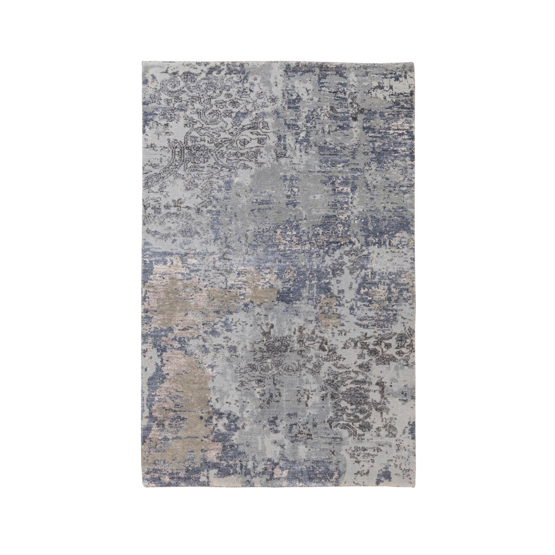 3'x5' Gray Erased Design Wool And Silk Runner Hand Knotted Oriental Rug
