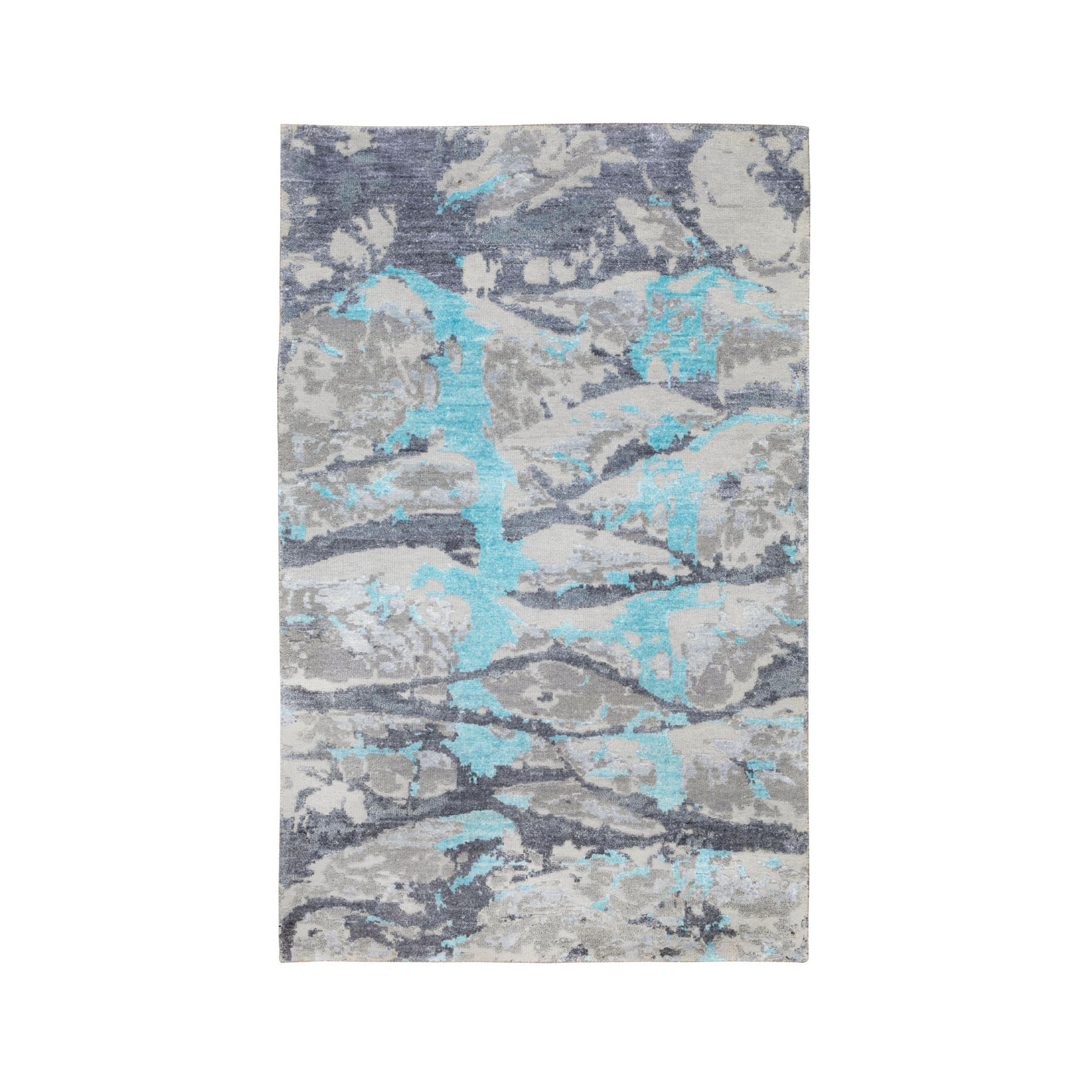 3'x5' Aquamarine Modern Design Wool And Silk Hand Knotted Oriental Rug