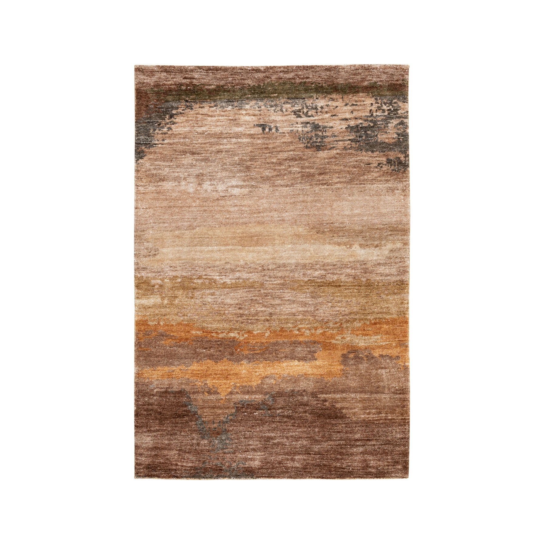 3'x5' Earth Tone Colors Abstract Design Wool And Silk Hand Knotted Modern Oriental Rug