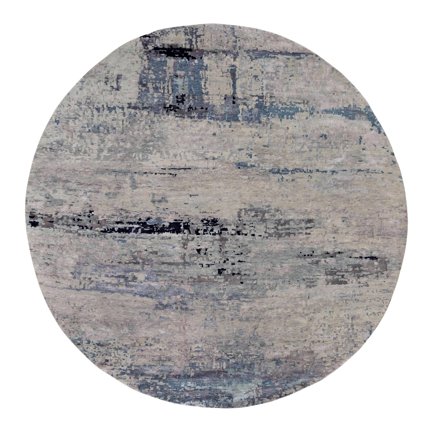 9'x9' Gray Abstract Design Round Wool And Silk Hand Knotted Oriental Rug