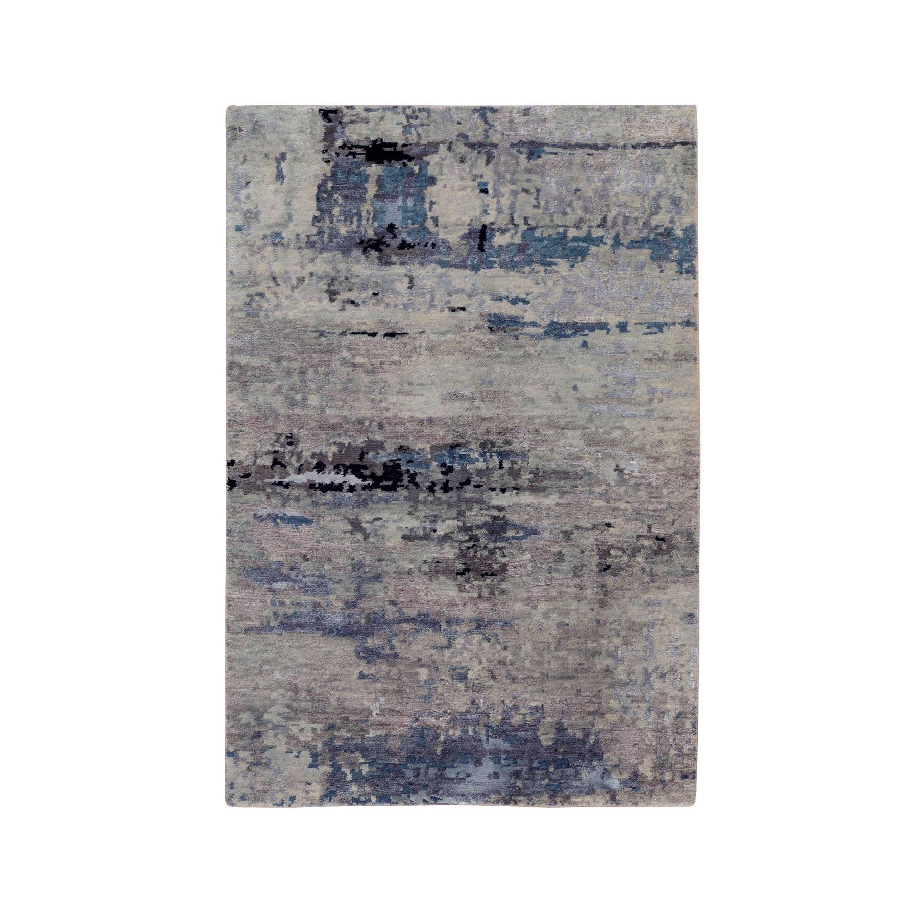 "3'x4'10"" Abstract Design Silver-Blue Modern Hand Knotted Wool & Silk Hi-Low Pile Oriental Rug"