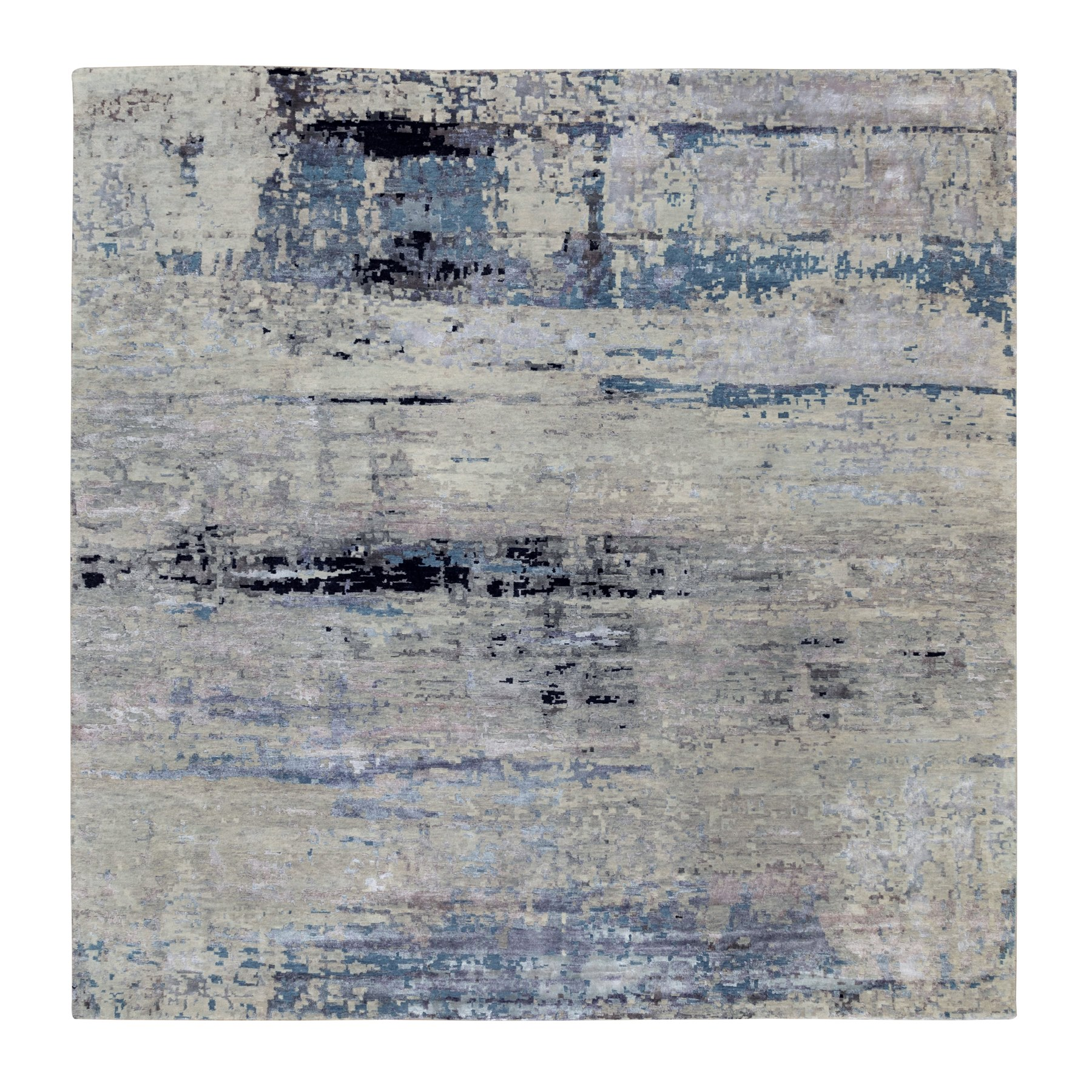 "9'10""x9'11"" Abstract Design Square Silver-Blue Hand Knotted Hi-Low Pile Wool & Silk Oriental Rug"