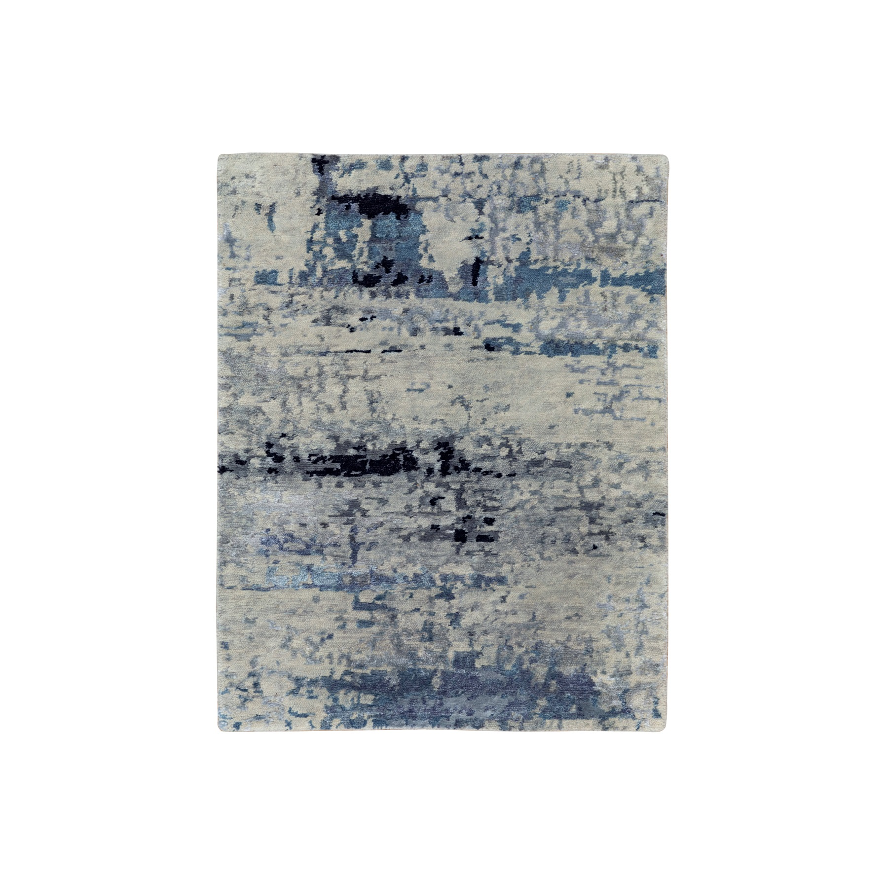 """2'x2'10"""" Abstract Design Hi-Low Pile Silver-Blue Hand Knotted Wool & Silk Oriental Rug"""