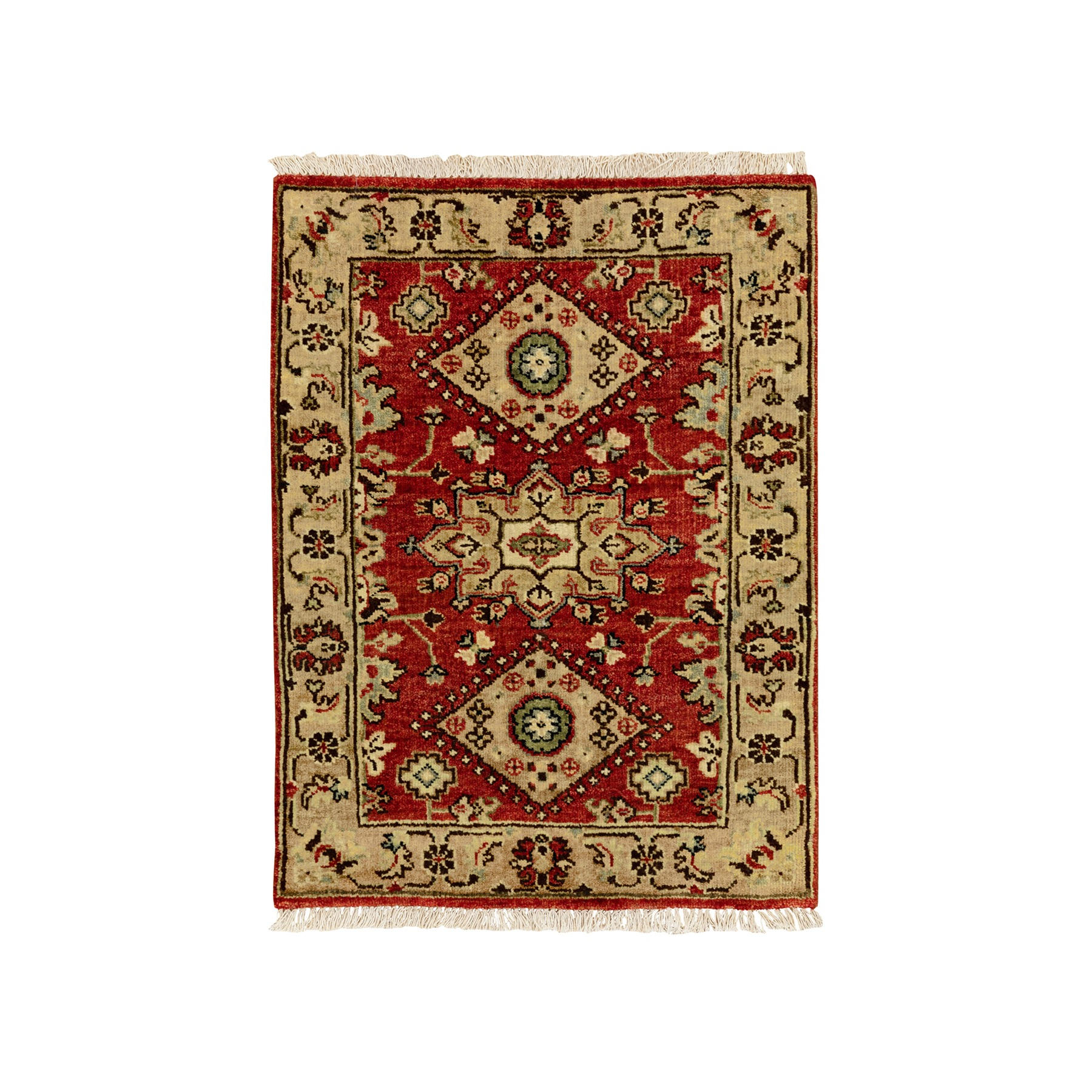 """2'2""""x3' Red Karajeh Design Pure Wool Hand Knotted Oriental Rug"""