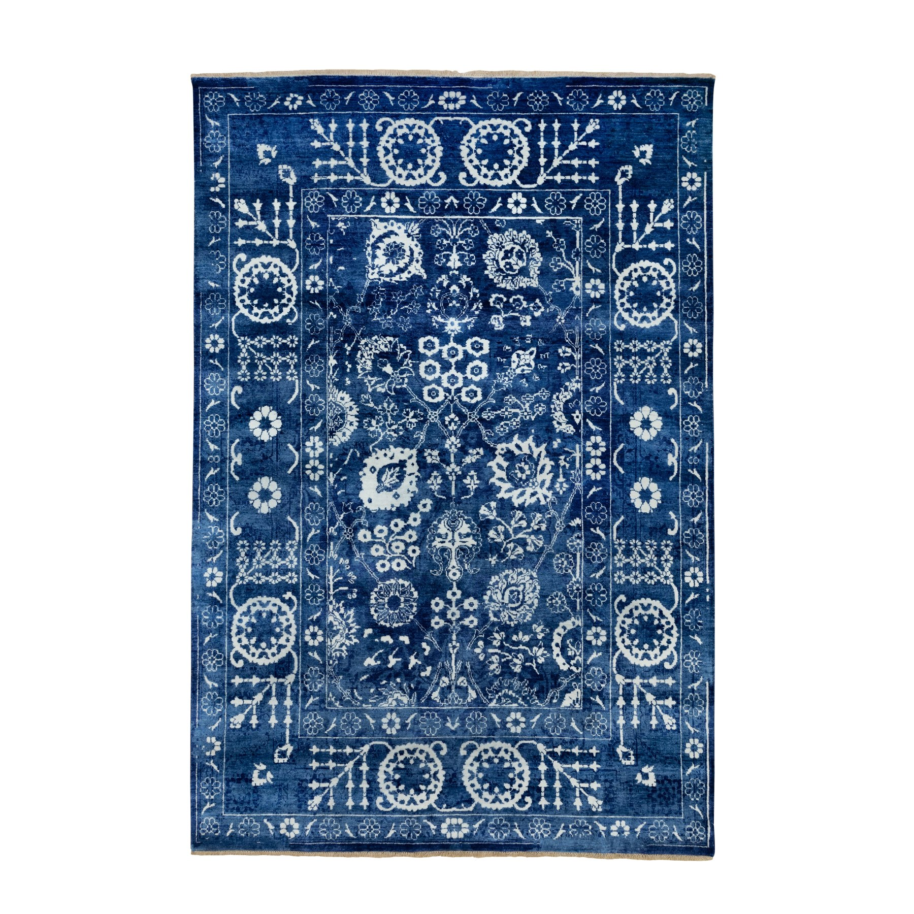 """6'2""""X9' Blue Hand Knotted Tone On Tone Tabriz Wool And Silk Oriental Rug moae8ece"""