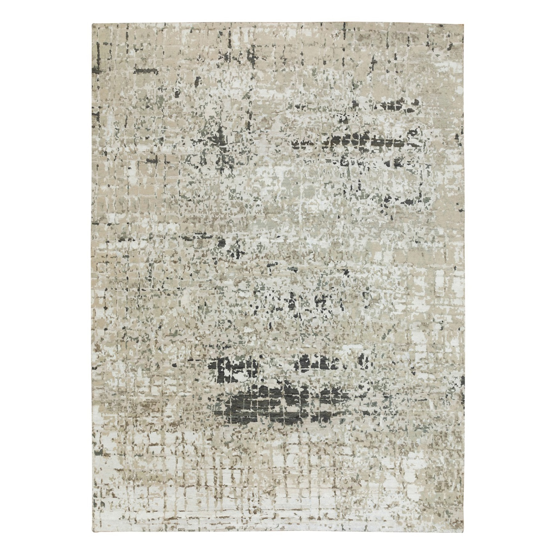 "9'2""X11'9"" Wool And Silk Modern Abstract Design With Soft Colors Taupe Hand Knotted Oriental Rug moae8ed0"