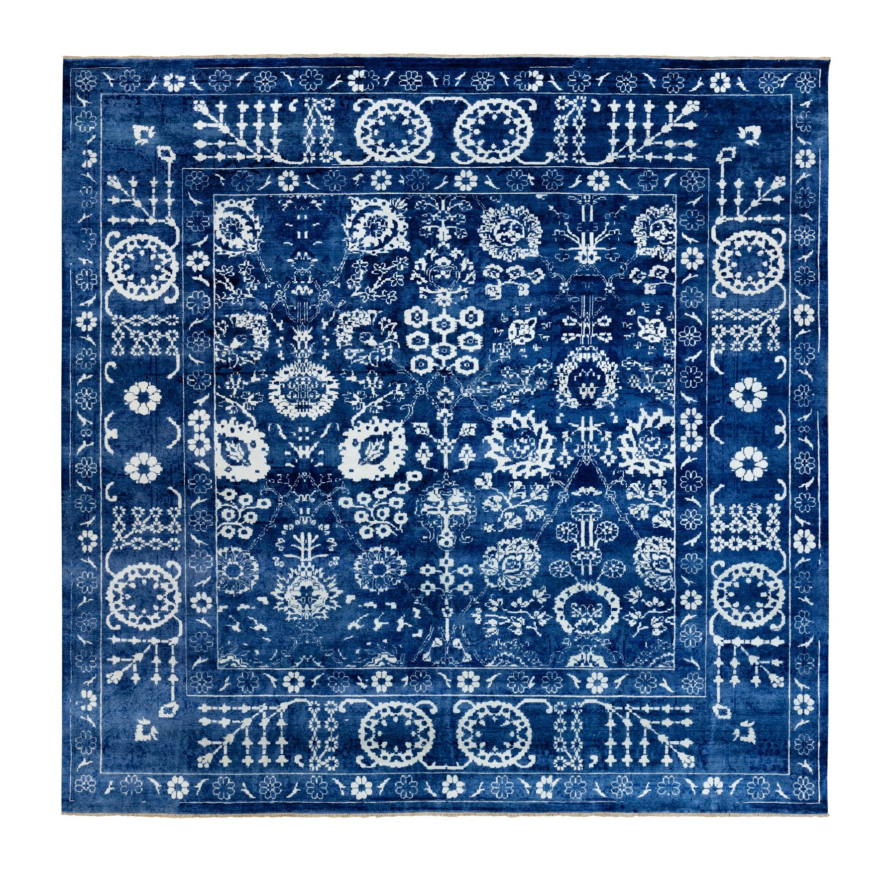 "12'2""x12'2"" Blue Tone On Tone Tabriz Wool and Silk Square Hand Knotted Oriental Rug"