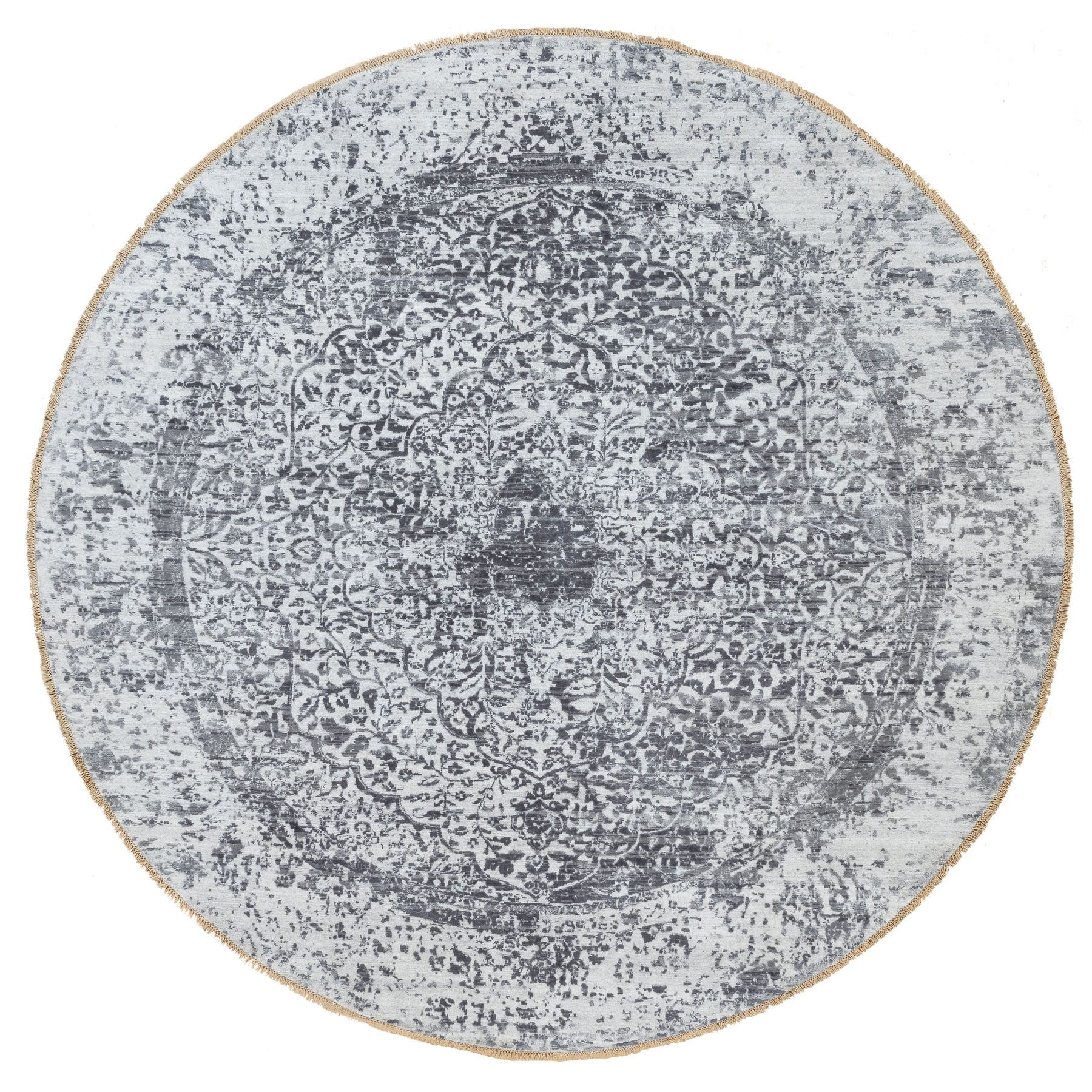 "8'10""x8'10"" Silver-Dark Gray Erased Persian Design Wool and Pure Silk Hand Knotted Round Oriental Rug"