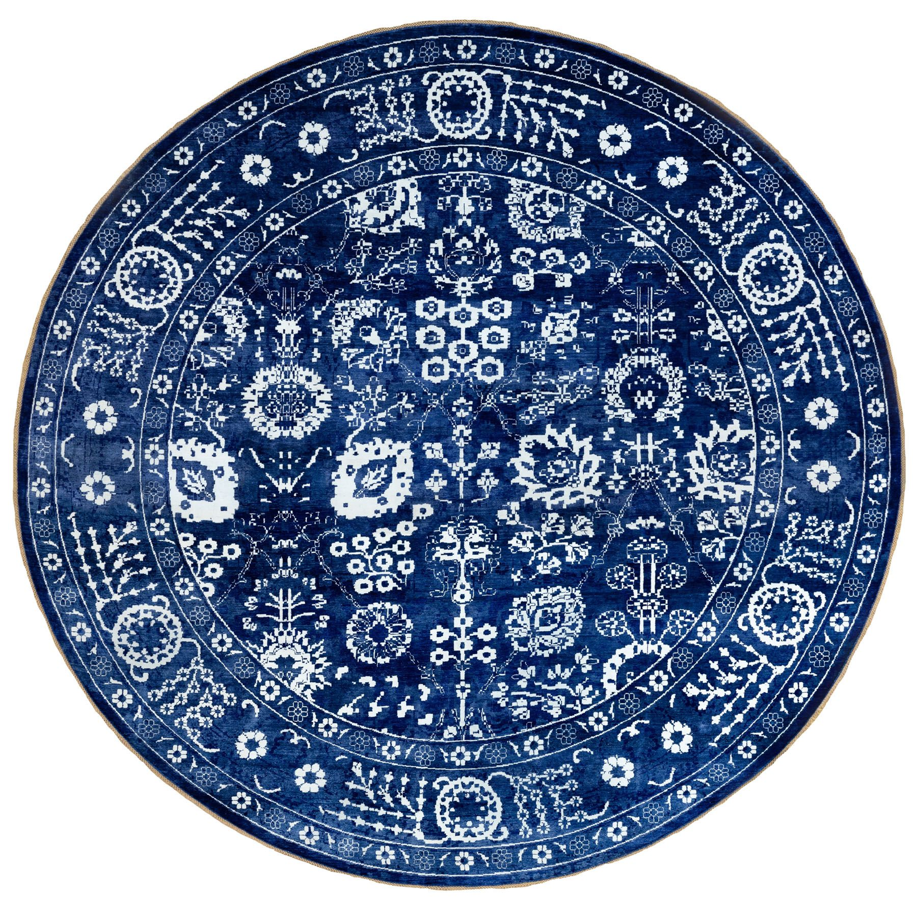 14'X14' Blue Tone On Tone Tabriz Wool And Silk Hand Knotted Round Oriental Rug moae8e6b