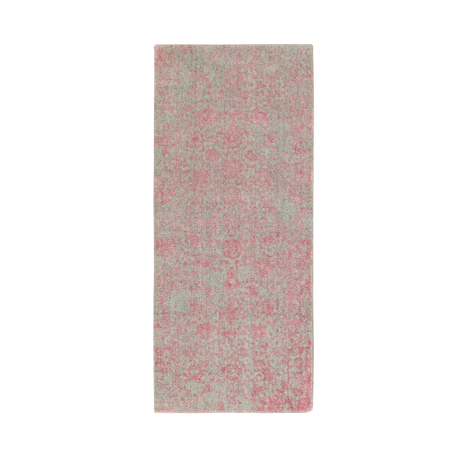 """2'6""""X6' Pink Wool And Art Silk Erased Persian Design Hand Loomed Jacquard Oriental Rug moae8e86"""