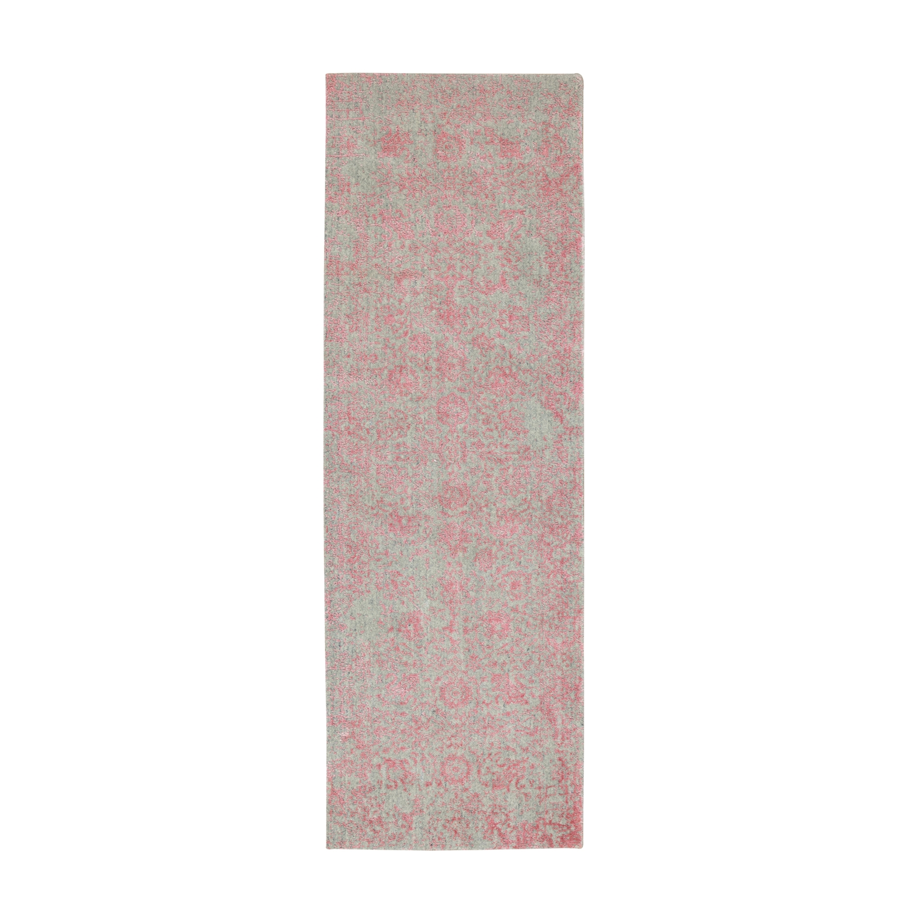 """2'6""""X8'1"""" Pink Transitional Design Wool And Art Silk Hand Loomed Jacquard Oriental Rug moae8e88"""