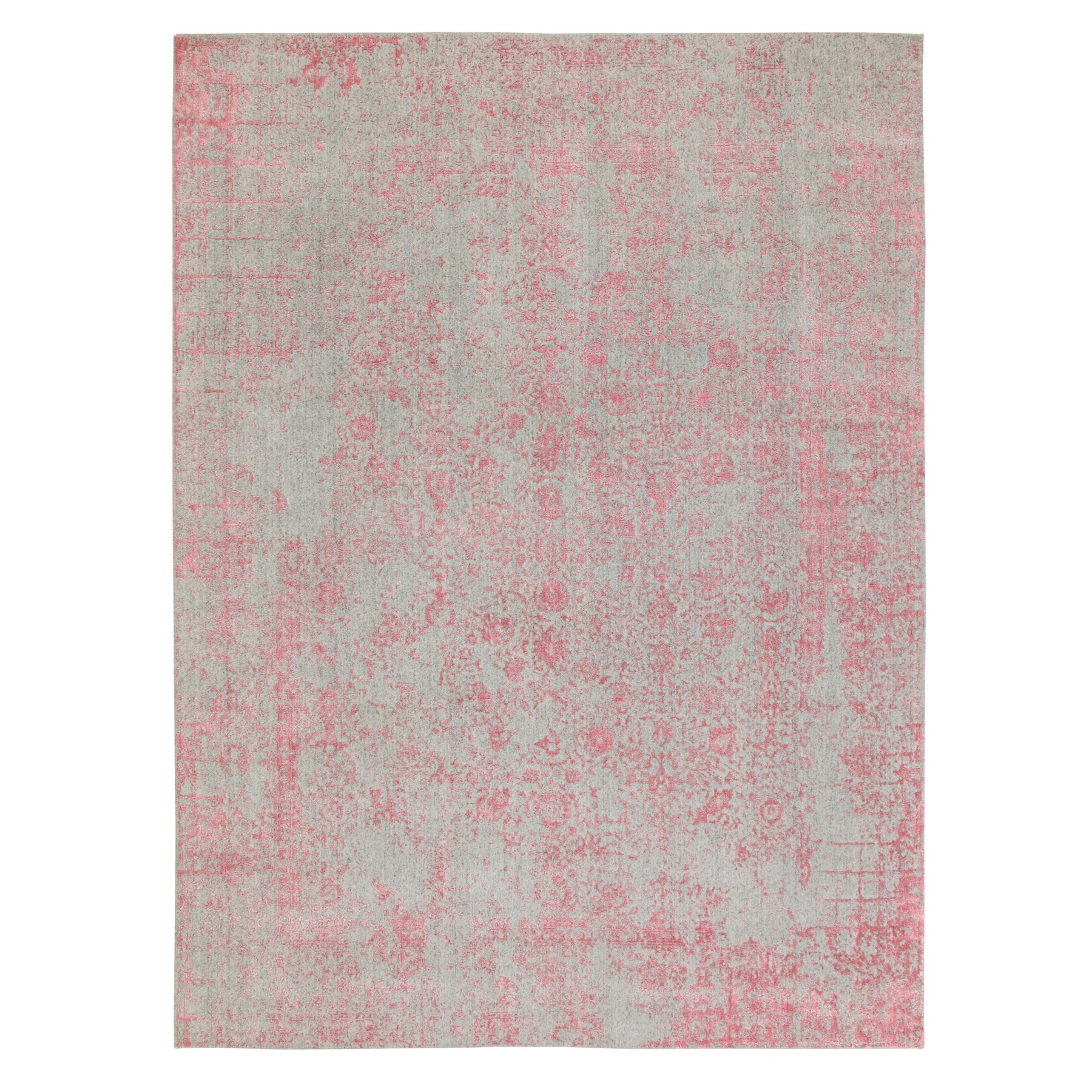9'X12' Pink Wool And Art Silk All Over Design Hand Loomed Jacquard Oriental Rug moae8e89
